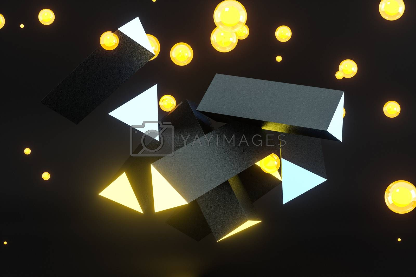 3d rendering, yellow glowing triangle pillar with dark background, by vinkfan