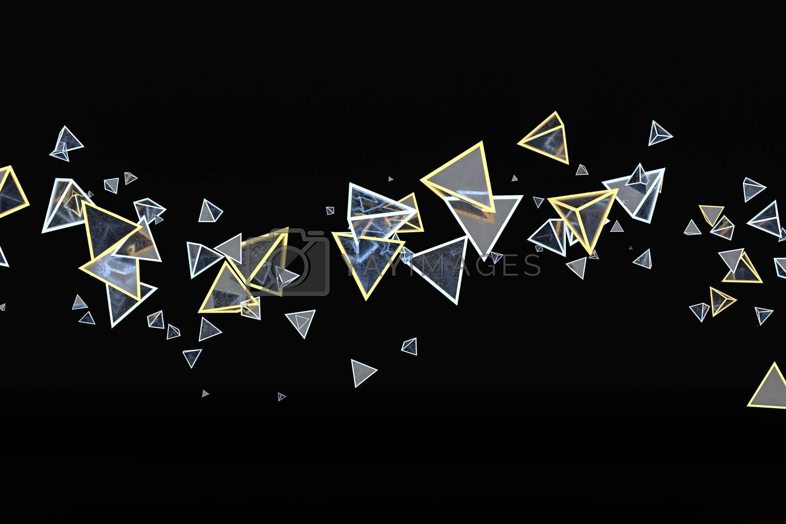 3d rendering, glowing triangle cube with dark background. by vinkfan