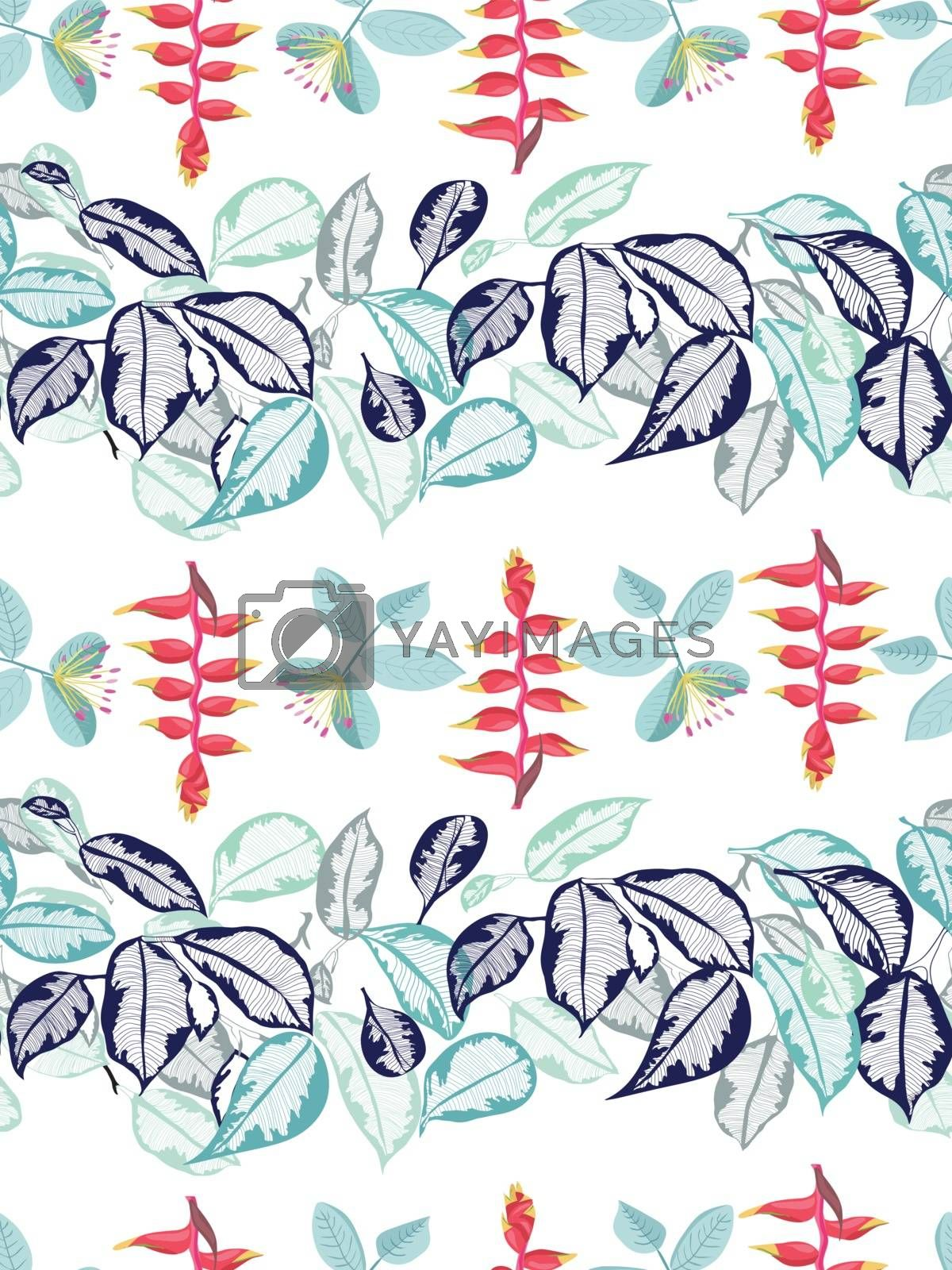 Vector Hand-drawn Summer background with tropical flowers and leaves horizontal beautiful border pattern.
