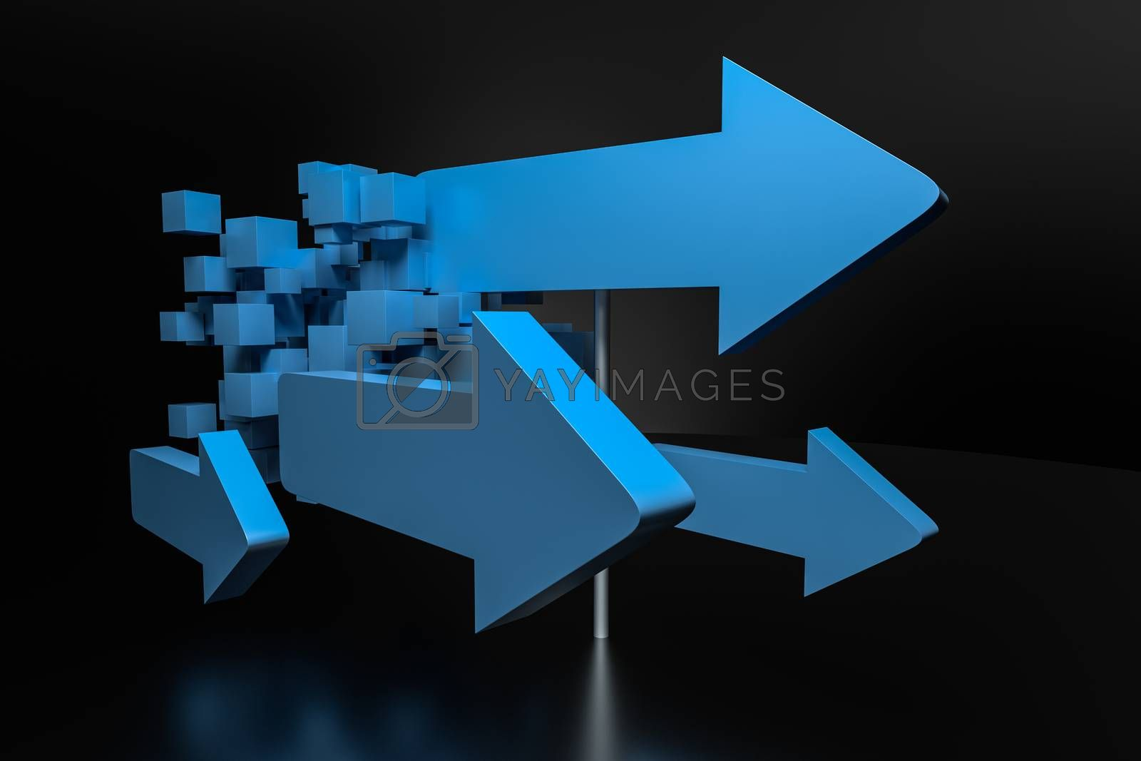 3d rendering, 3d model of arrow, the concept of development and direction by vinkfan