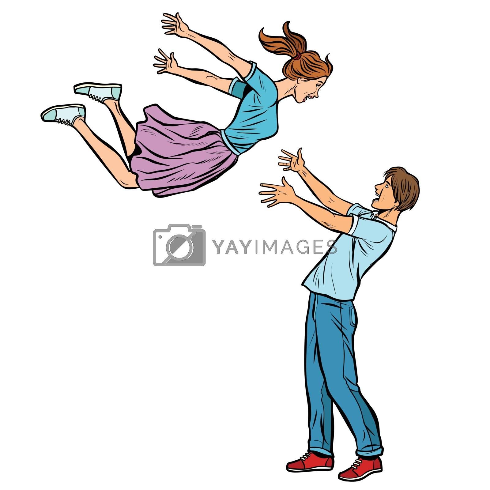 love and romance couple hugs meeting, girl flies into the hands of young men. Comic cartoon pop art vector retro vintage drawing