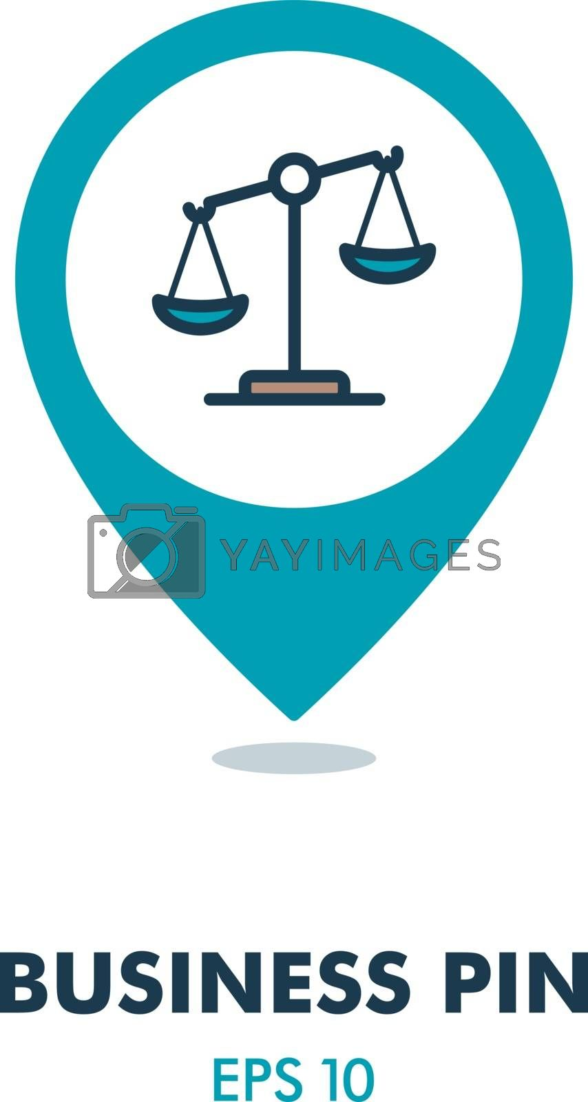 Law scale vector icon, justice pin map icon by nosik