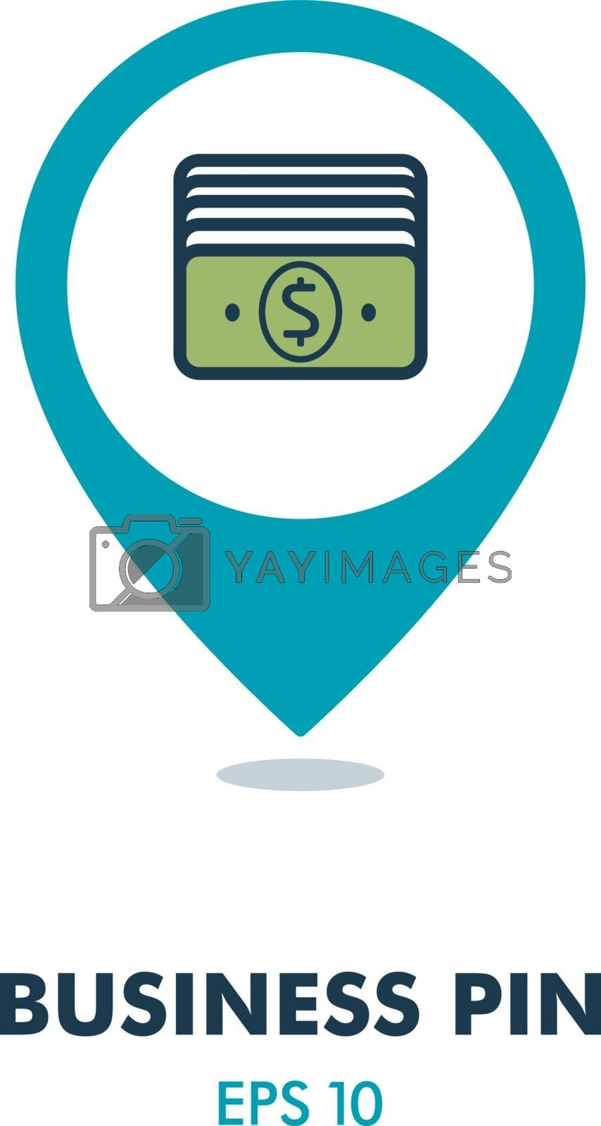 Money outline pin map icon. Business sign by nosik