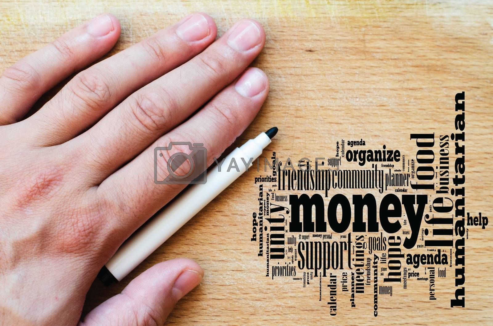 Money word cloud business concept over wooden background