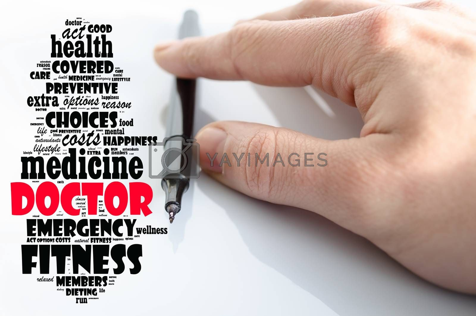 Doctor word cloud collage over white background