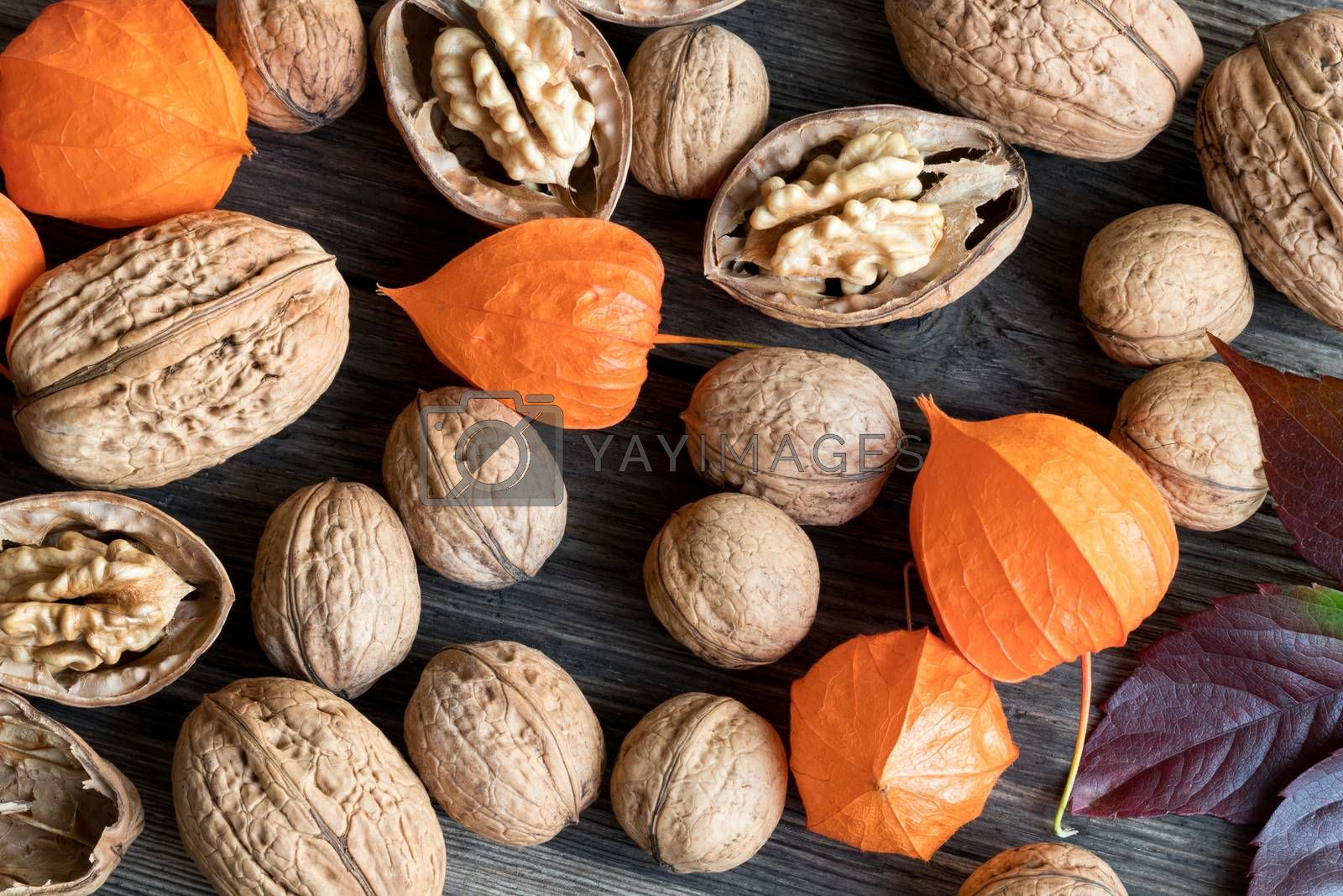 Whole and broken walnuts, Physalis alkekengi (Chinese lantern) and autumn leaves on a wooden background, top view