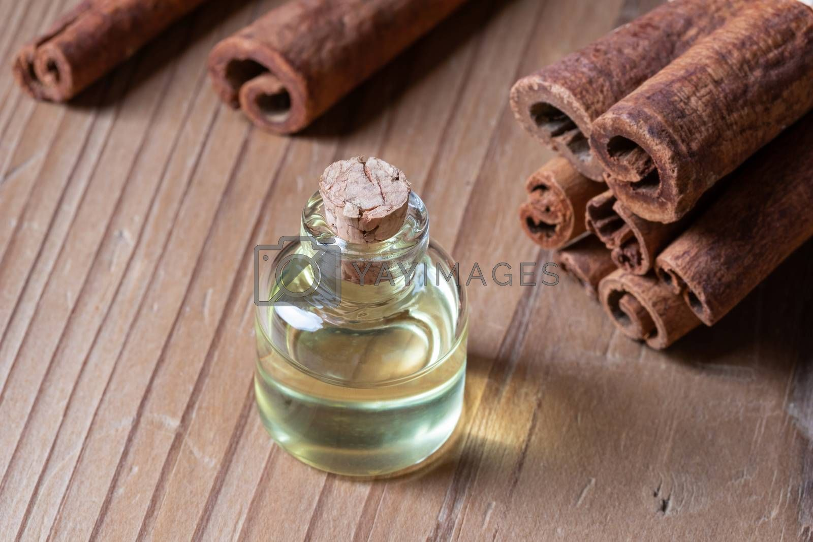 A bottle of cinnamon essential oil