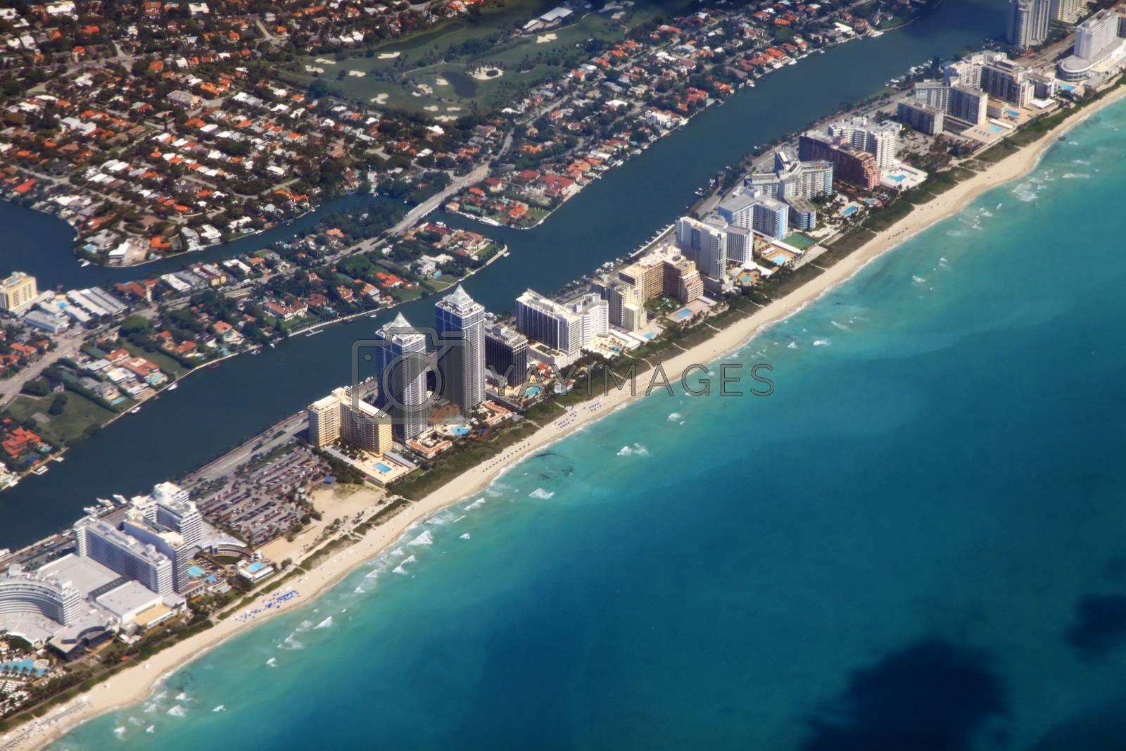 Miami coastline seen from high altitude