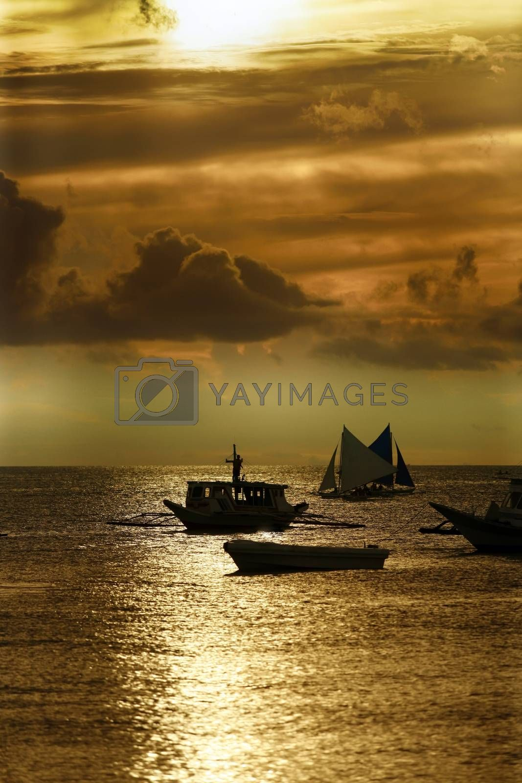 Traditional Philippine boats on sunset. Island Boracay