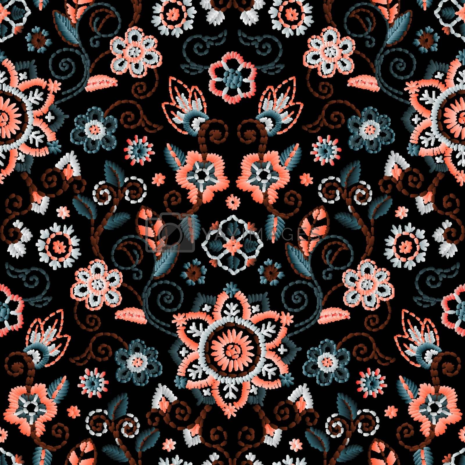 Embroidery seamless pattern with beautiful flowers. Vector floral ornament on dark background.