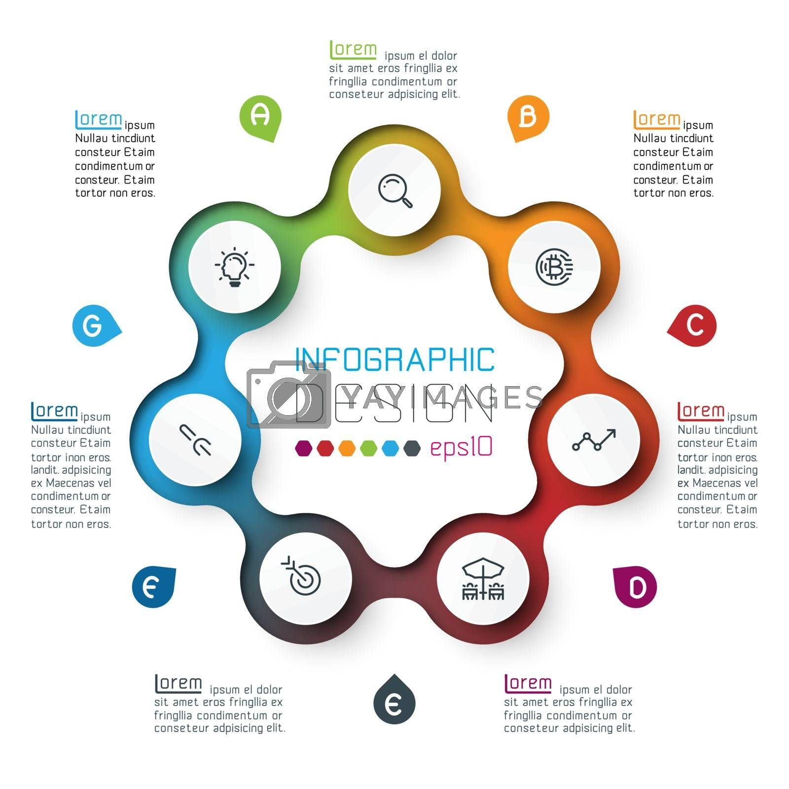Seven circles with business icon infographics.