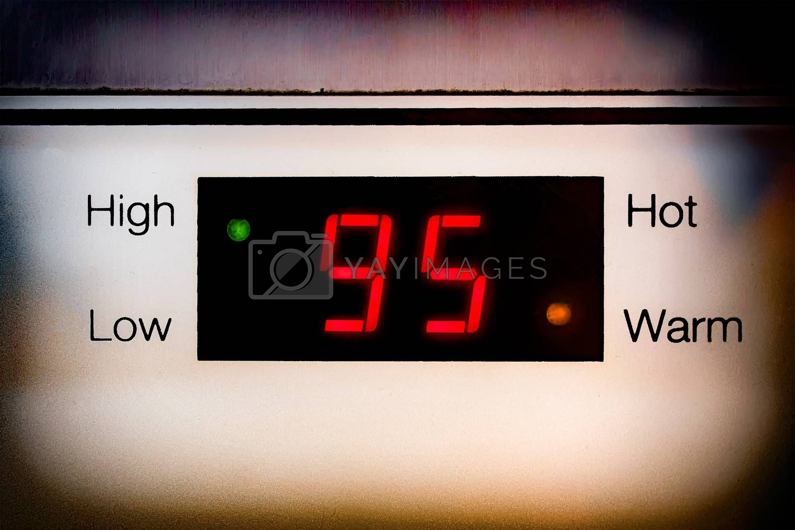 LED Temperature Display Shows 95 Degrees Celsius on a Water Boiler