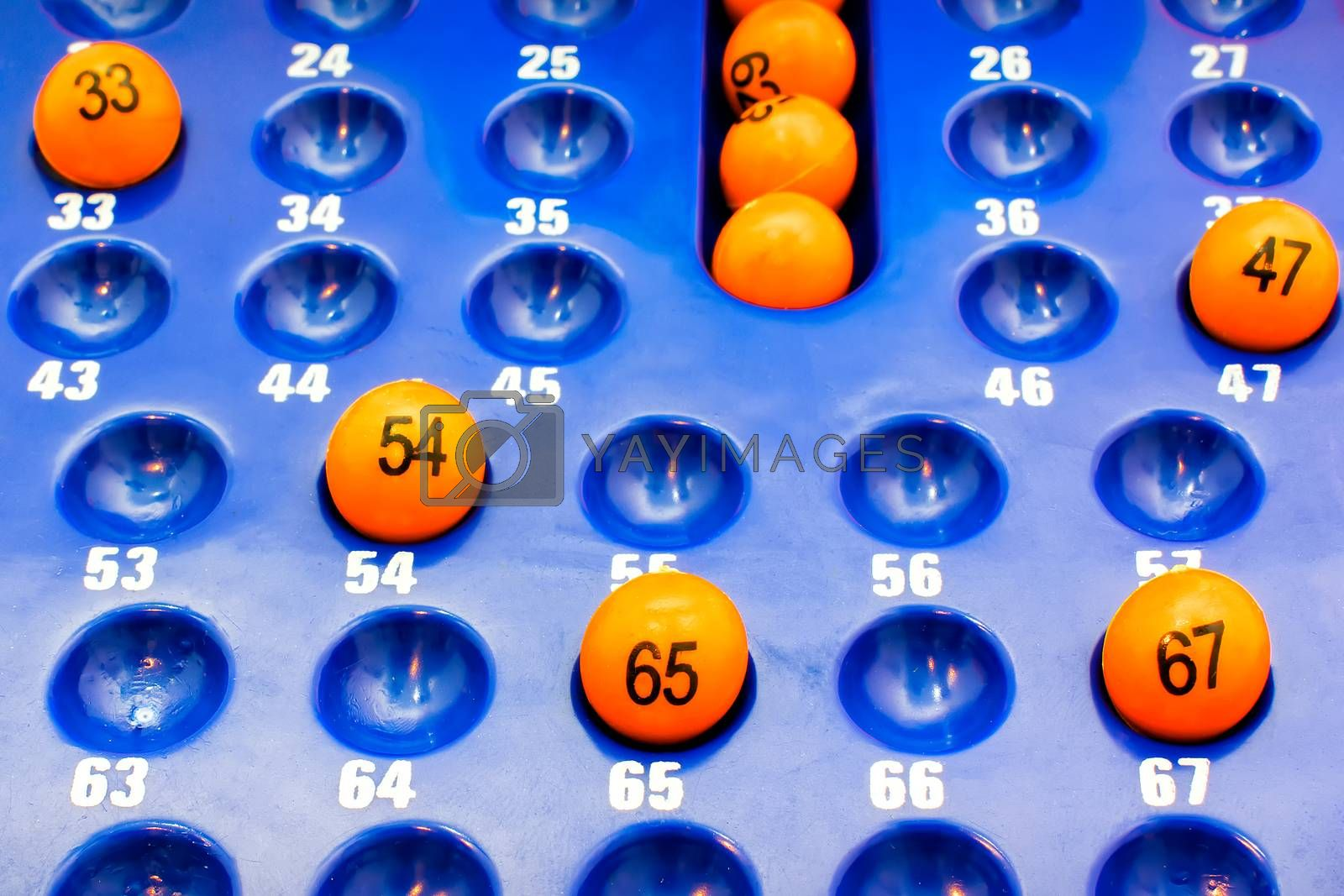 Blue Plastic Panel with Orange Bingo Balls