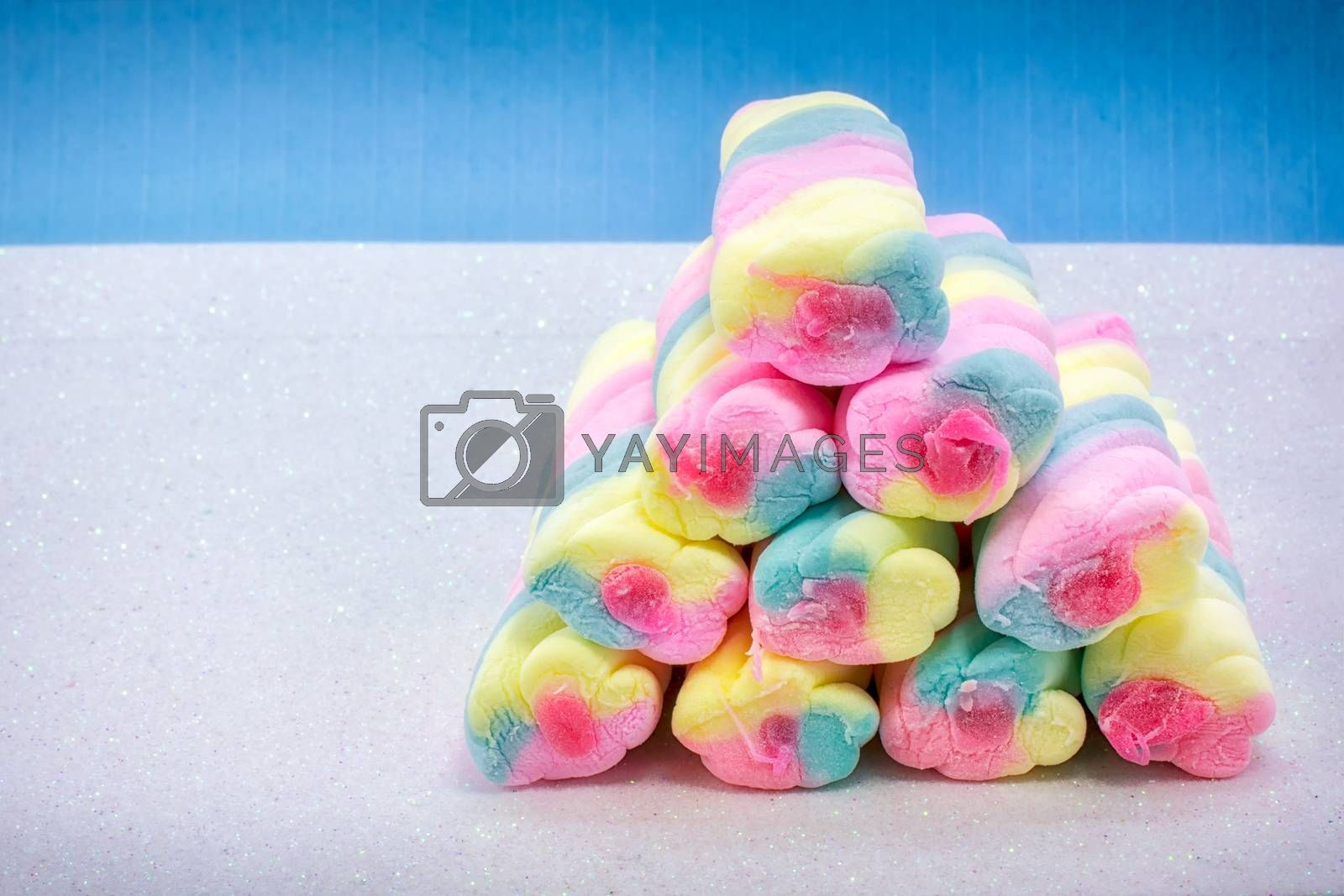 Pile of Colorful marshmallow with Sweet Fillings