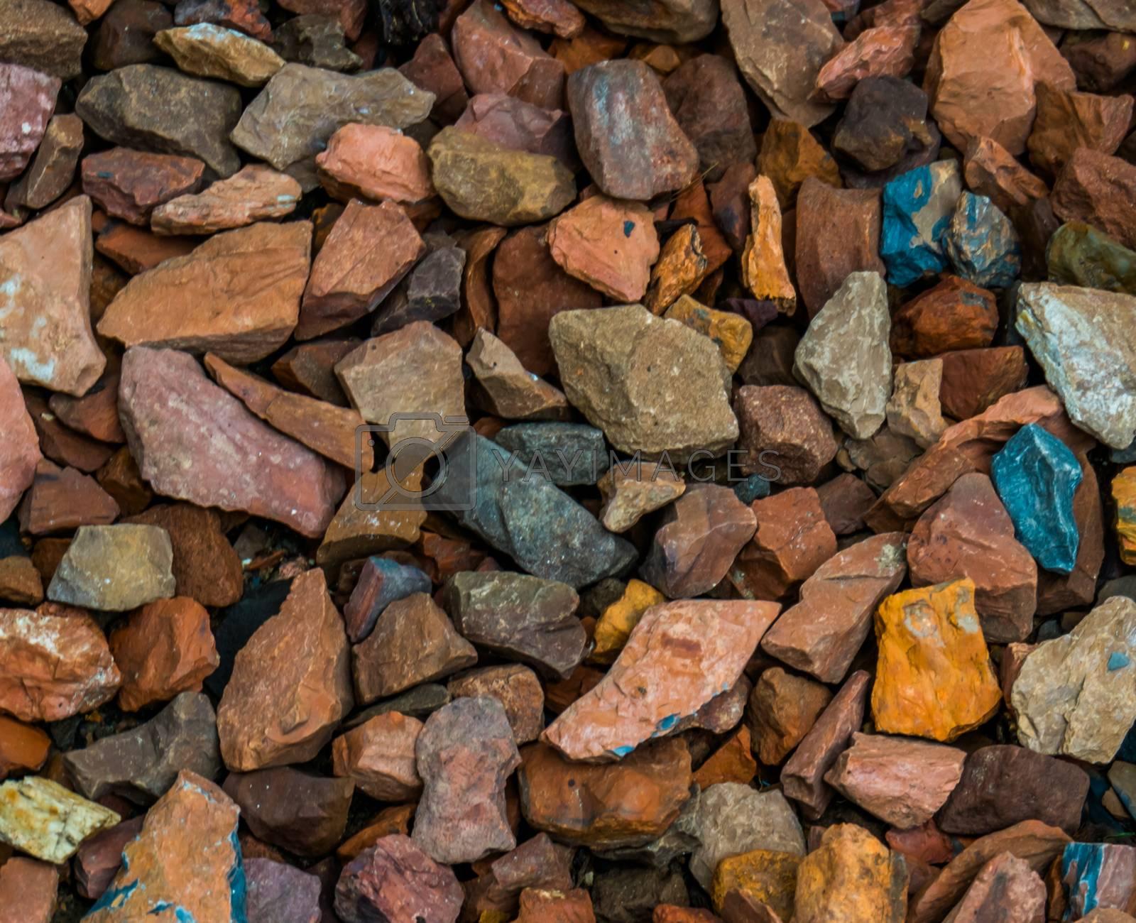 pattern of small gravel rocks, garden decorations for walking paths, rock pattern background by charlotte Bleijenberg