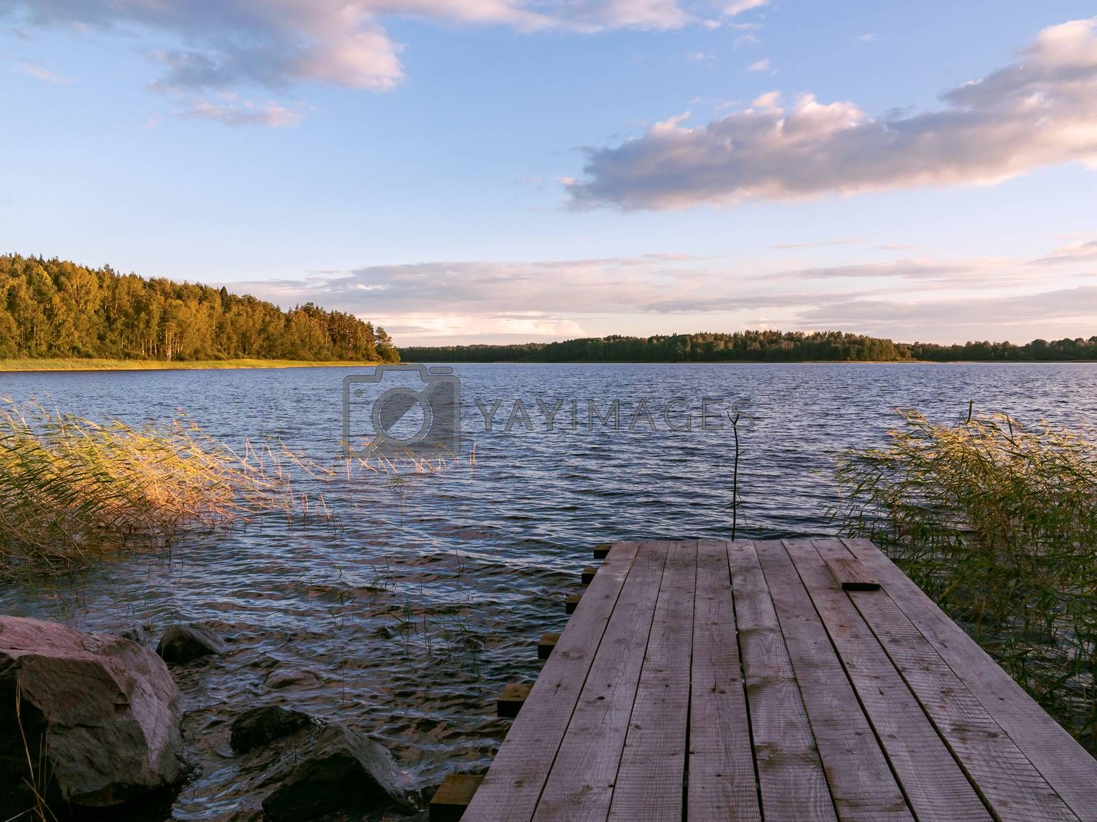 Wooden footbridge on the lake on a summer day at sunset by galsand