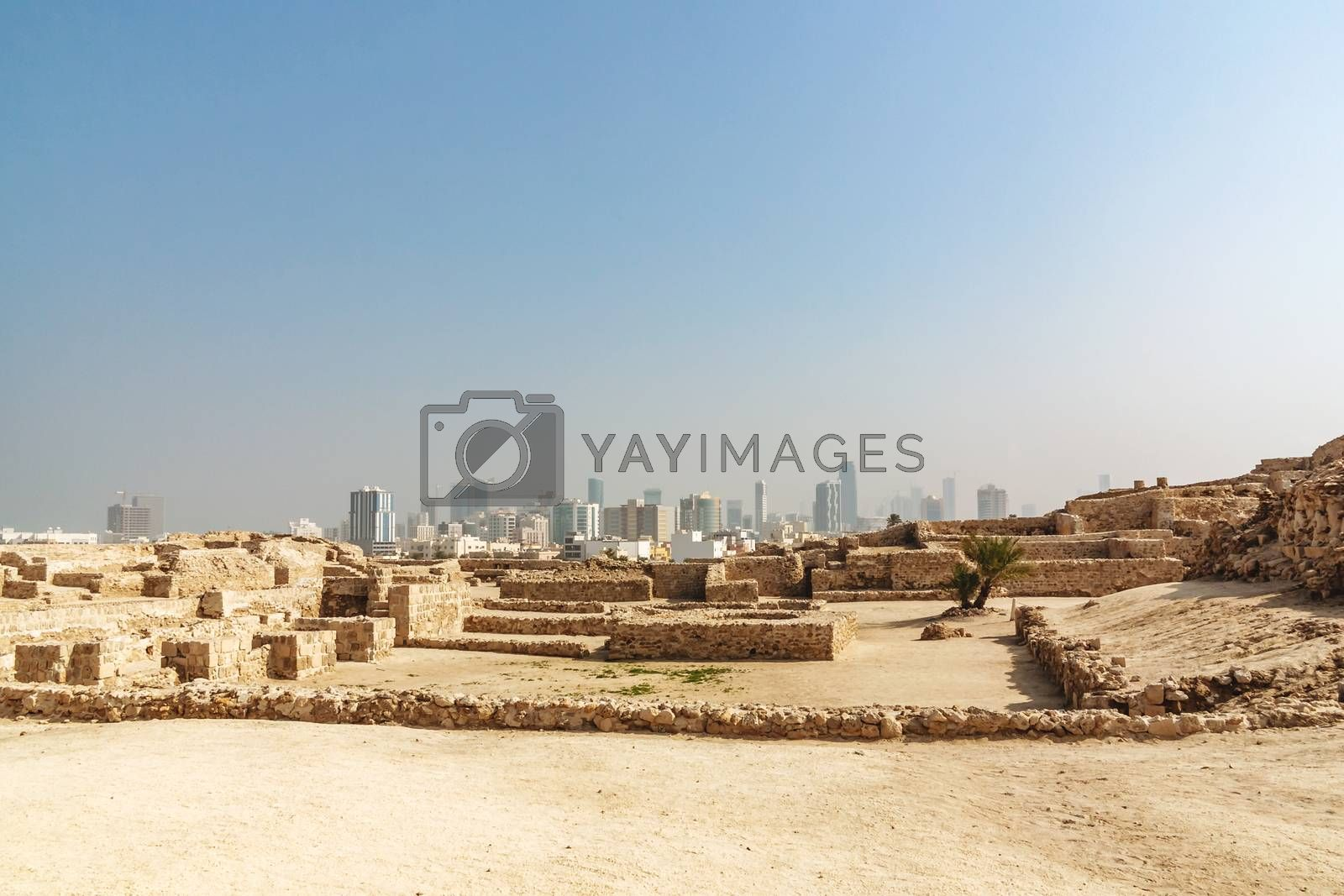 Fort of Bahrain ruin in Manama, Bahrain. Qal'at al-Bahrain Site Museum, UNESCO heritage, panoramic view by galsand