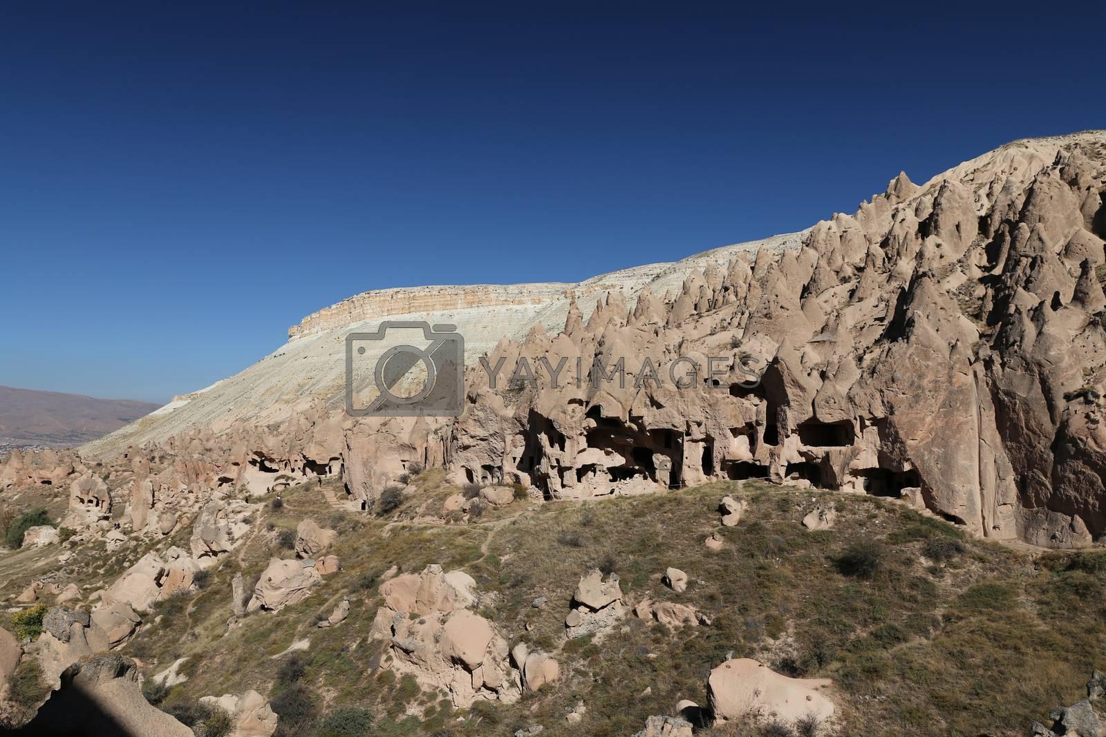 Rock Formations in Zelve Valley, Cappadocia, Nevsehir, Turkey by EvrenKalinbacak