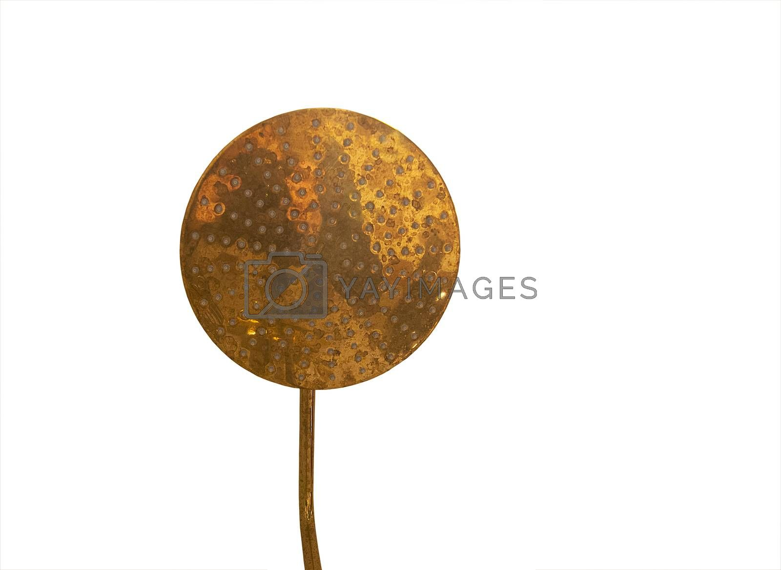 Brass shower head closeup isolated on white background