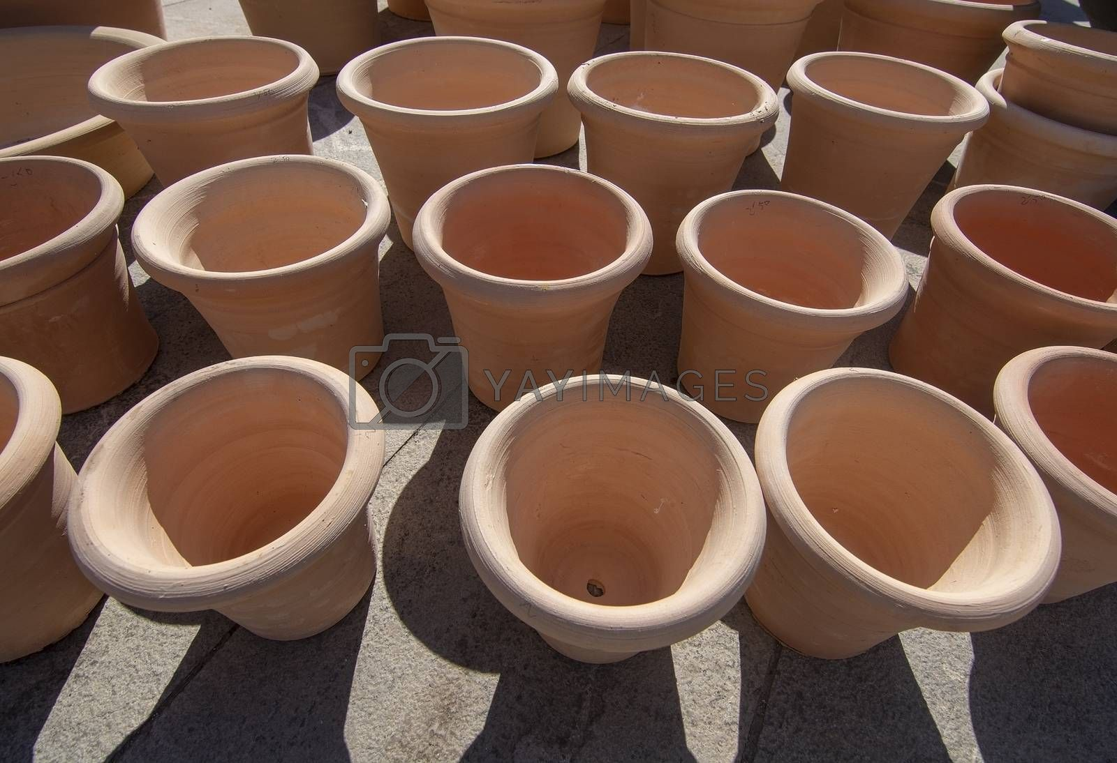 Nice newly made terracotta earthenware pots from above in Mallorca, Spain.