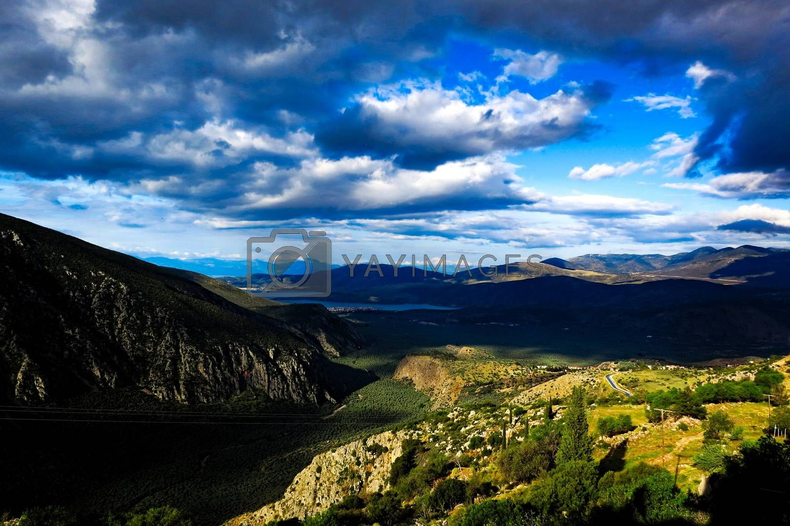 Delphi Greece view on Itea. by Louis Villedieu