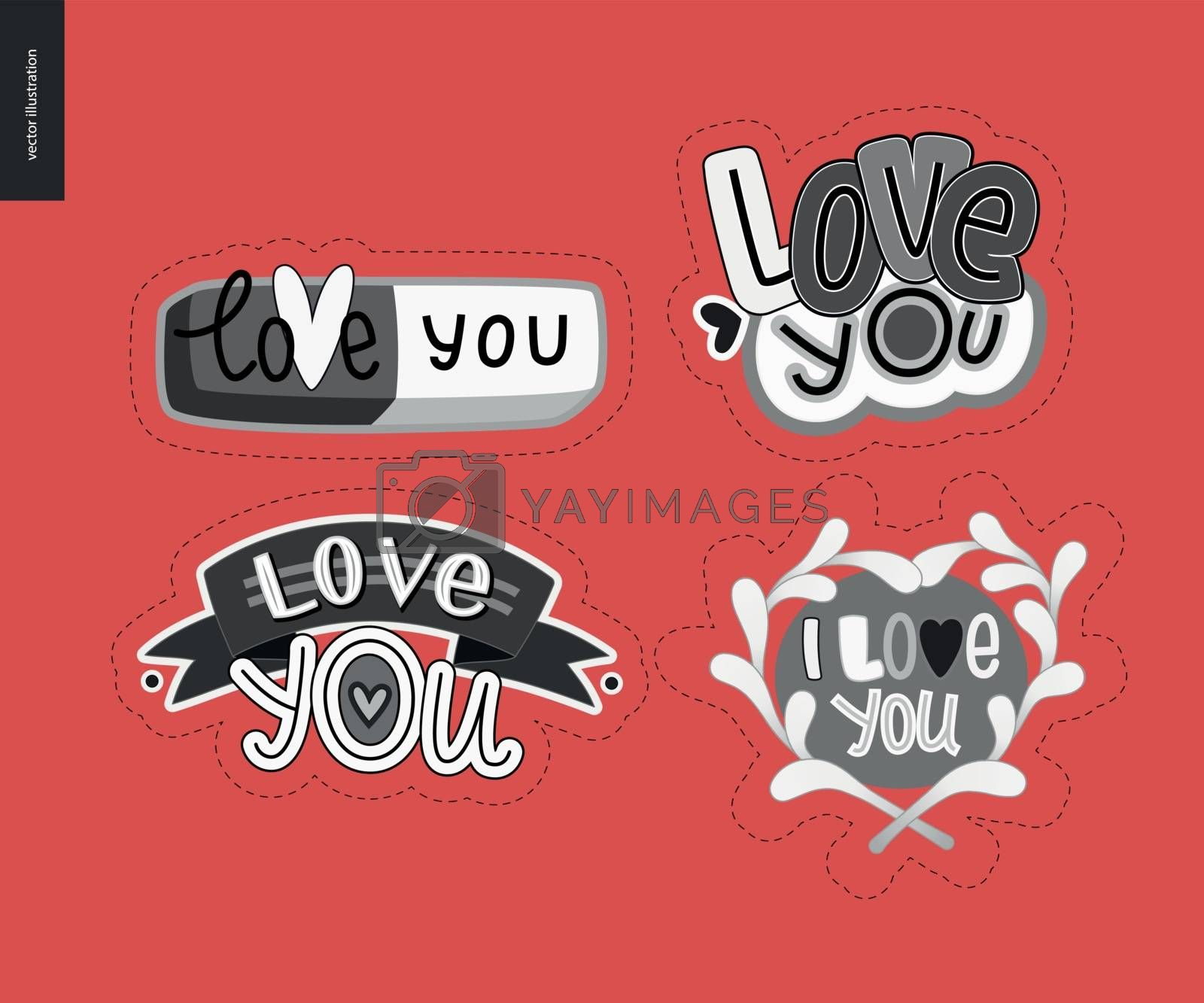 Set of contemporary girlie Love You letter logo by grivina