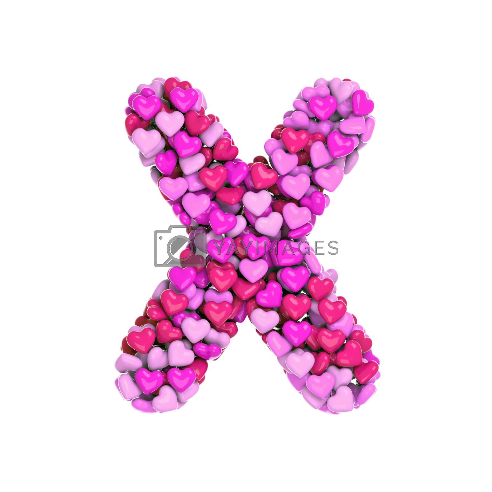 Valentine letter X - Upper-case 3d pink hearts font - Love, passion or wedding concept by chrisroll