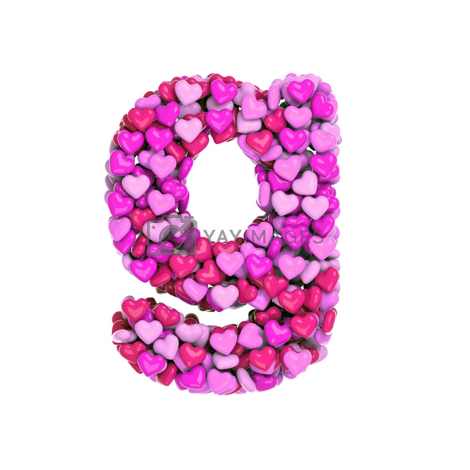 Valentine letter G - Lowercase 3d pink hearts font - Love, passion or wedding concept by chrisroll