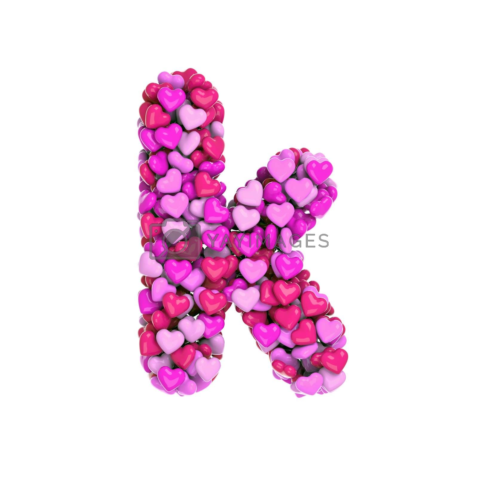 Valentine letter K - Lower-case 3d pink hearts font - Love, passion or wedding concept by chrisroll