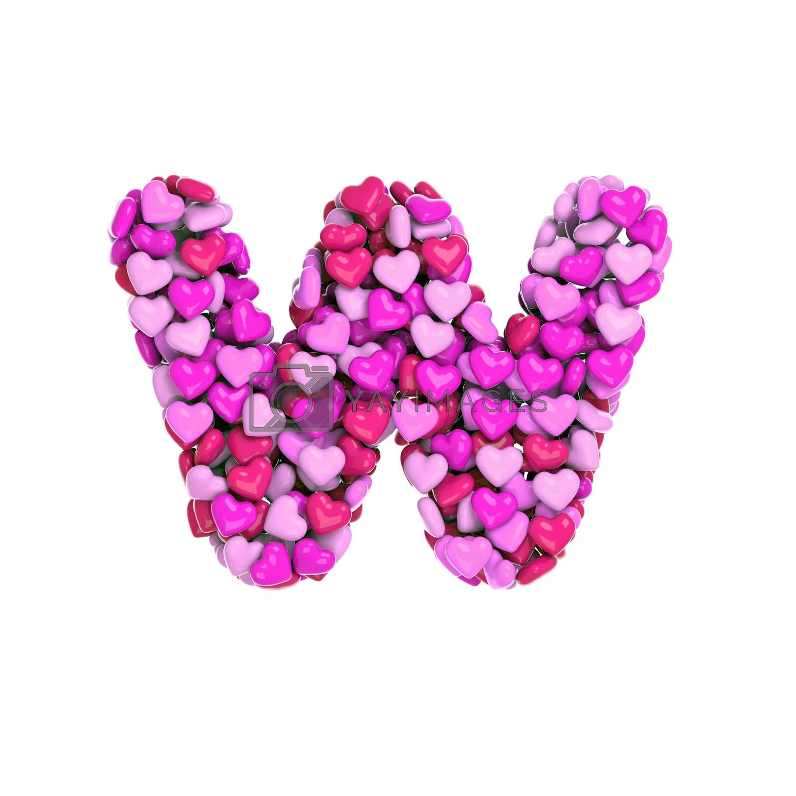 Valentine letter W - Lower-case 3d pink hearts font - Love, passion or wedding concept by chrisroll