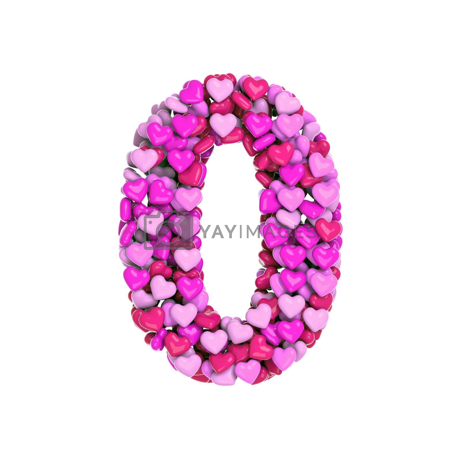Valentine number 0 -  3d pink hearts digit - Love, passion or wedding concept by chrisroll
