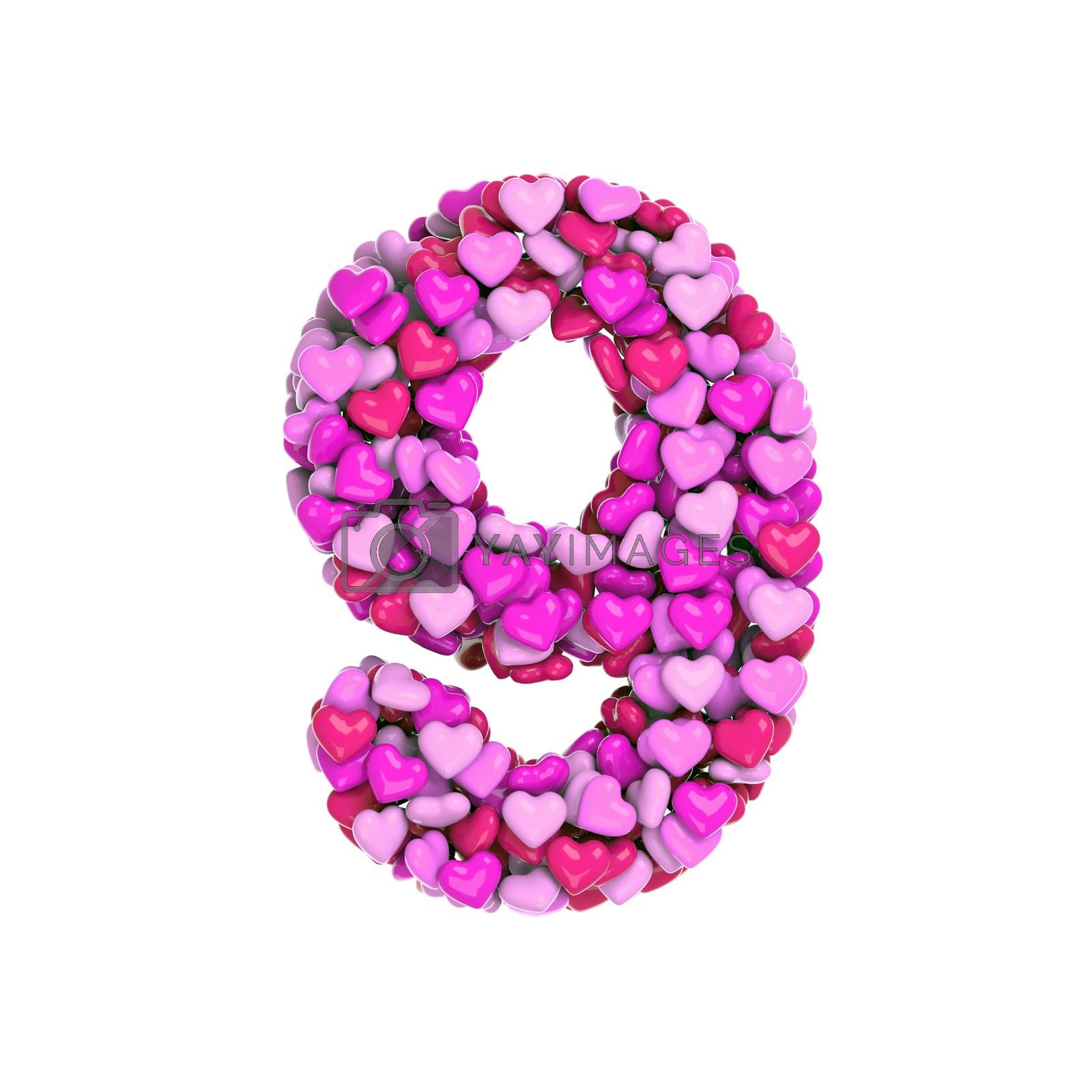 Valentine number 9 -  3d pink hearts digit - Love, passion or wedding concept by chrisroll