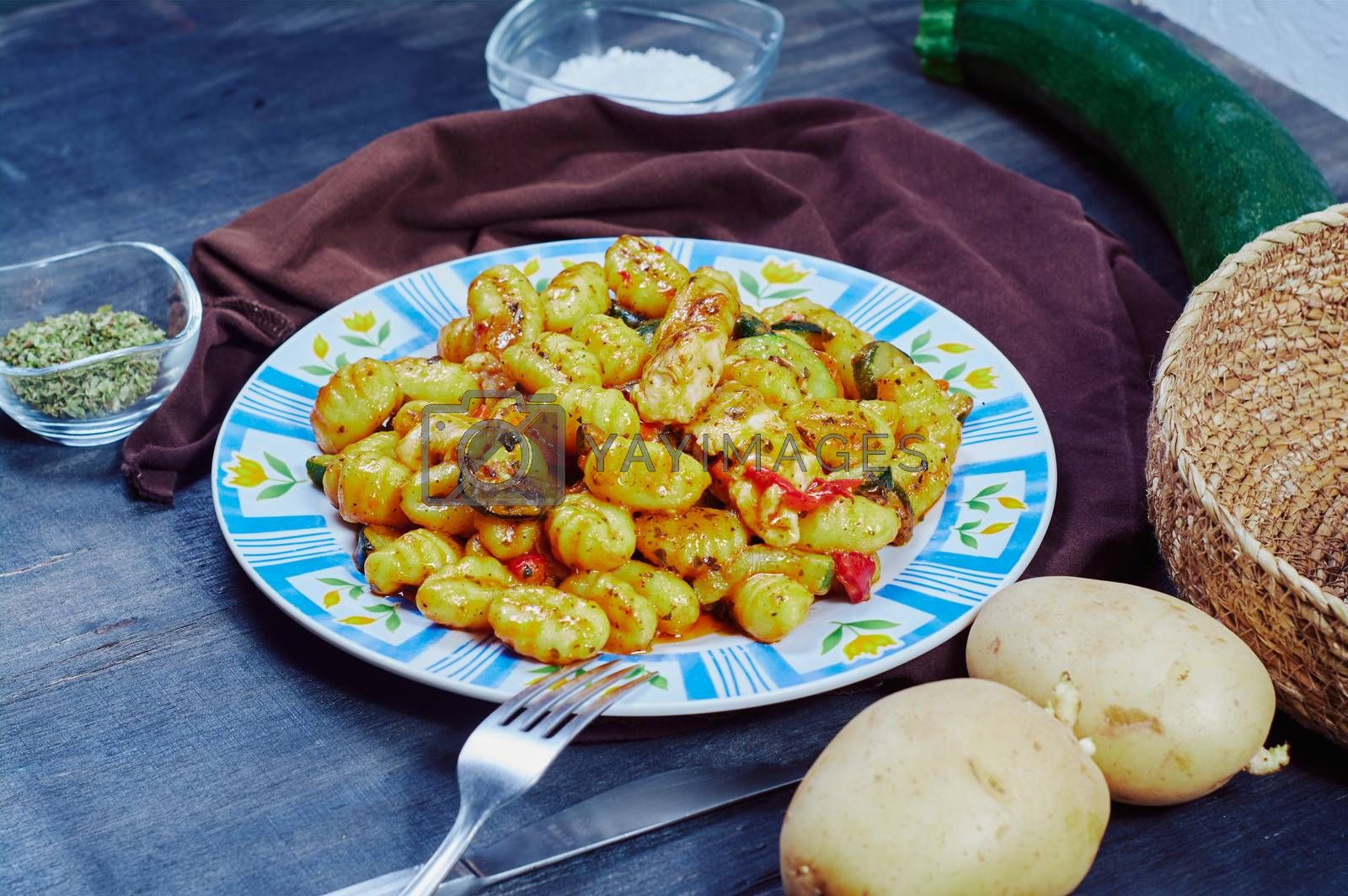 gnocchi with chicken and vegetables by Prf_photo