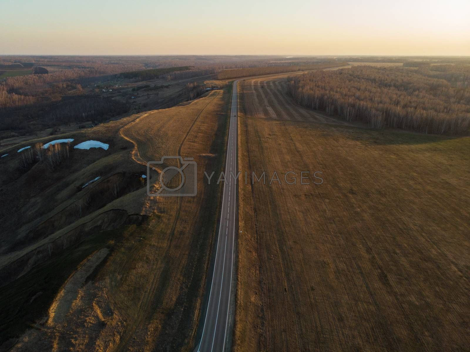 Aerial view of a road in summer landscape