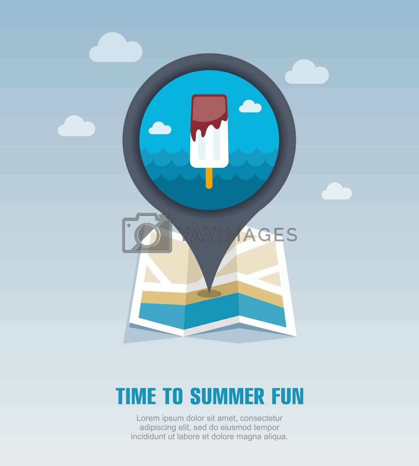 Ice Cream pin map icon. Summer. Vacation by nosik