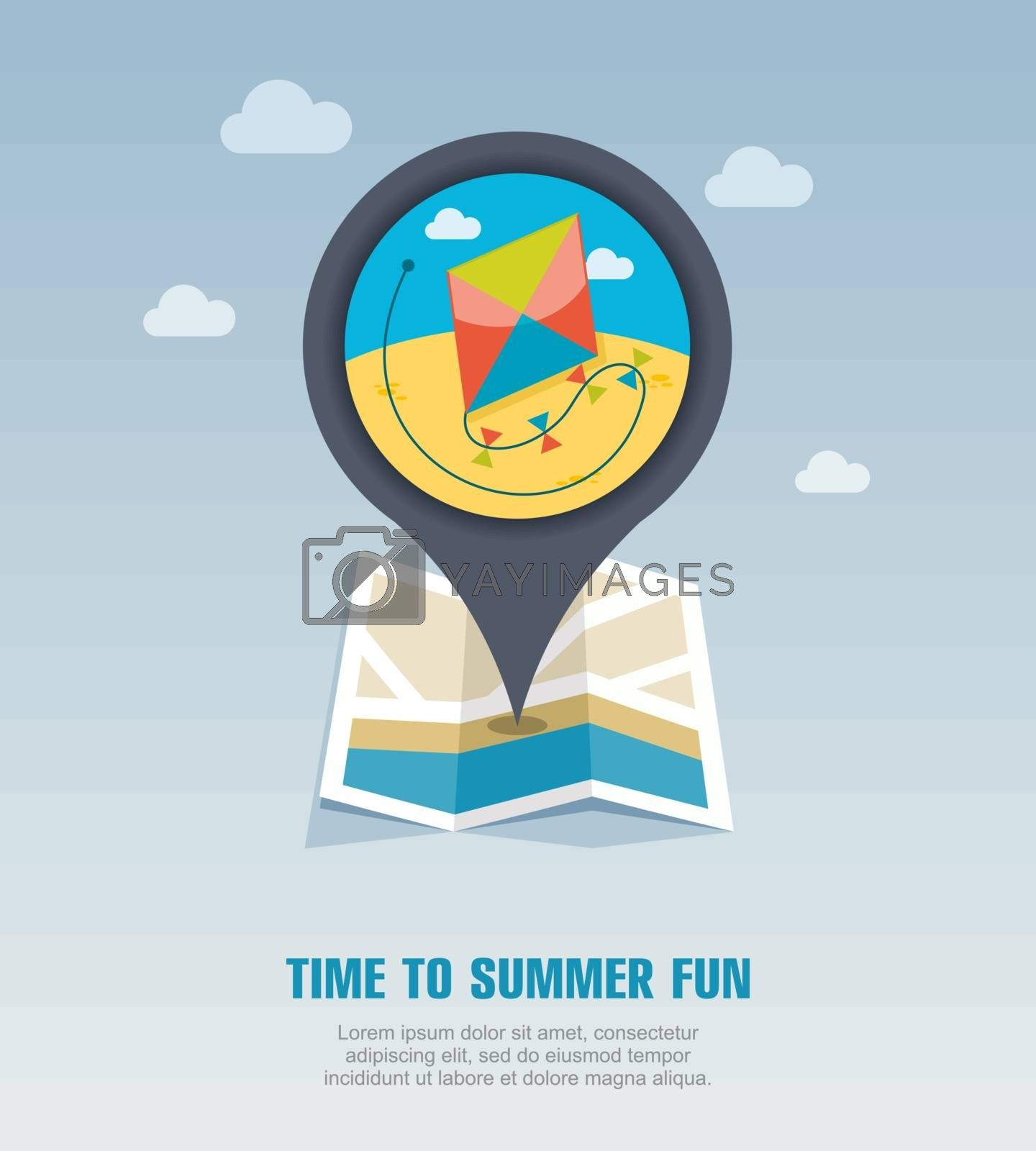 Kite pin map icon. Summer. Vacation by nosik