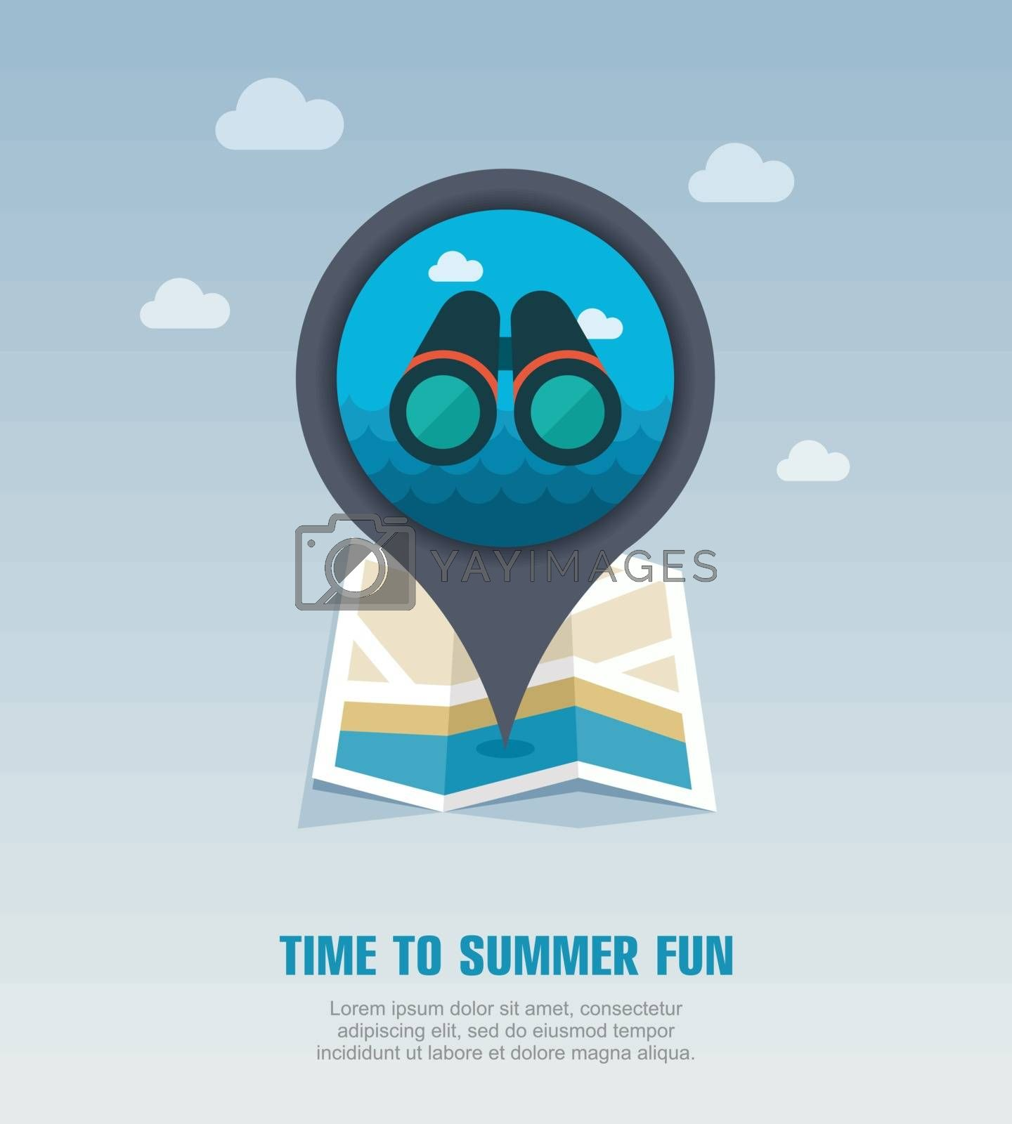 Binoculars pin map icon. Summer by nosik