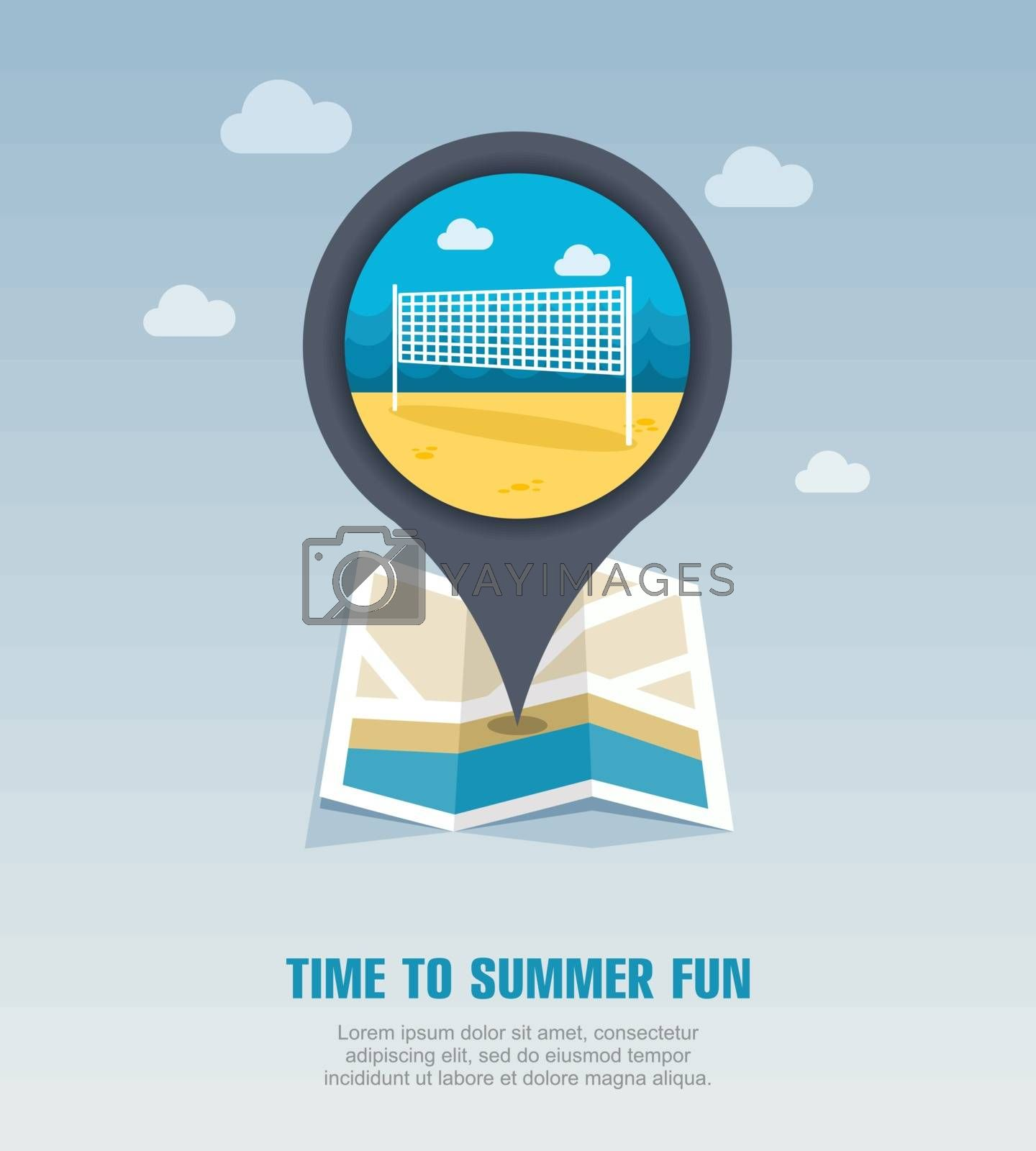 Volleyball net beach sport pin map icon. Vacation by nosik