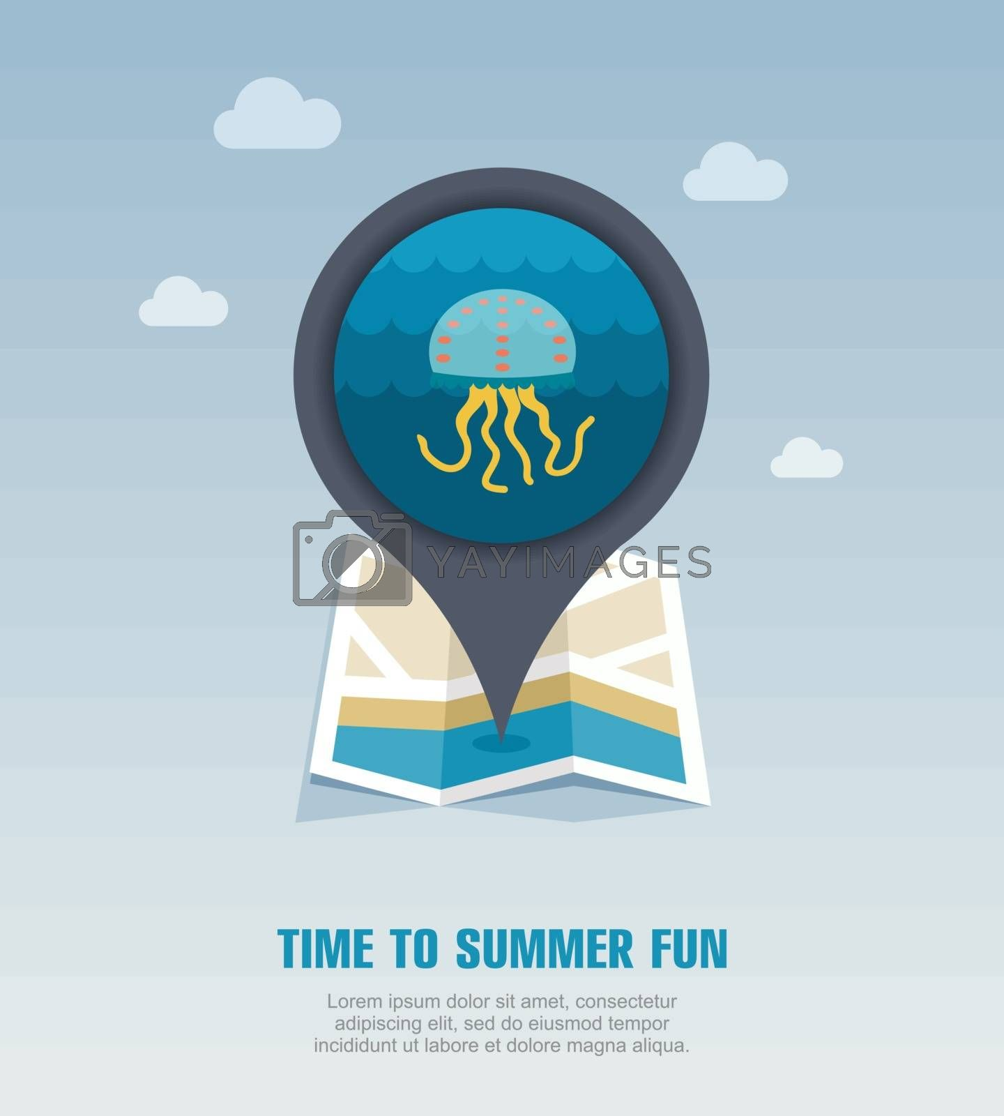 Jellyfish pin map icon. Summer. Vacation by nosik