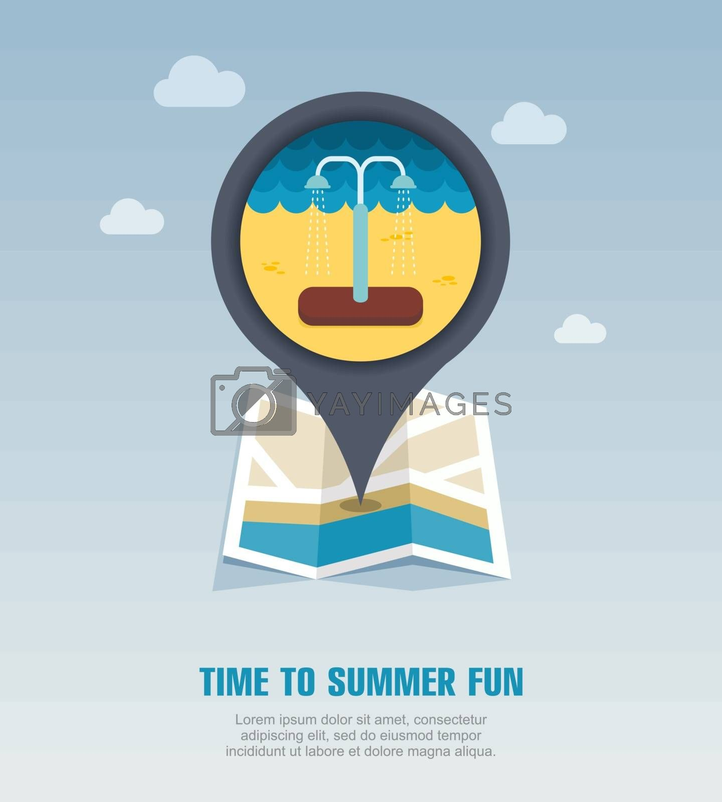 Summer beach pool shower pin map icon. Vacation by nosik