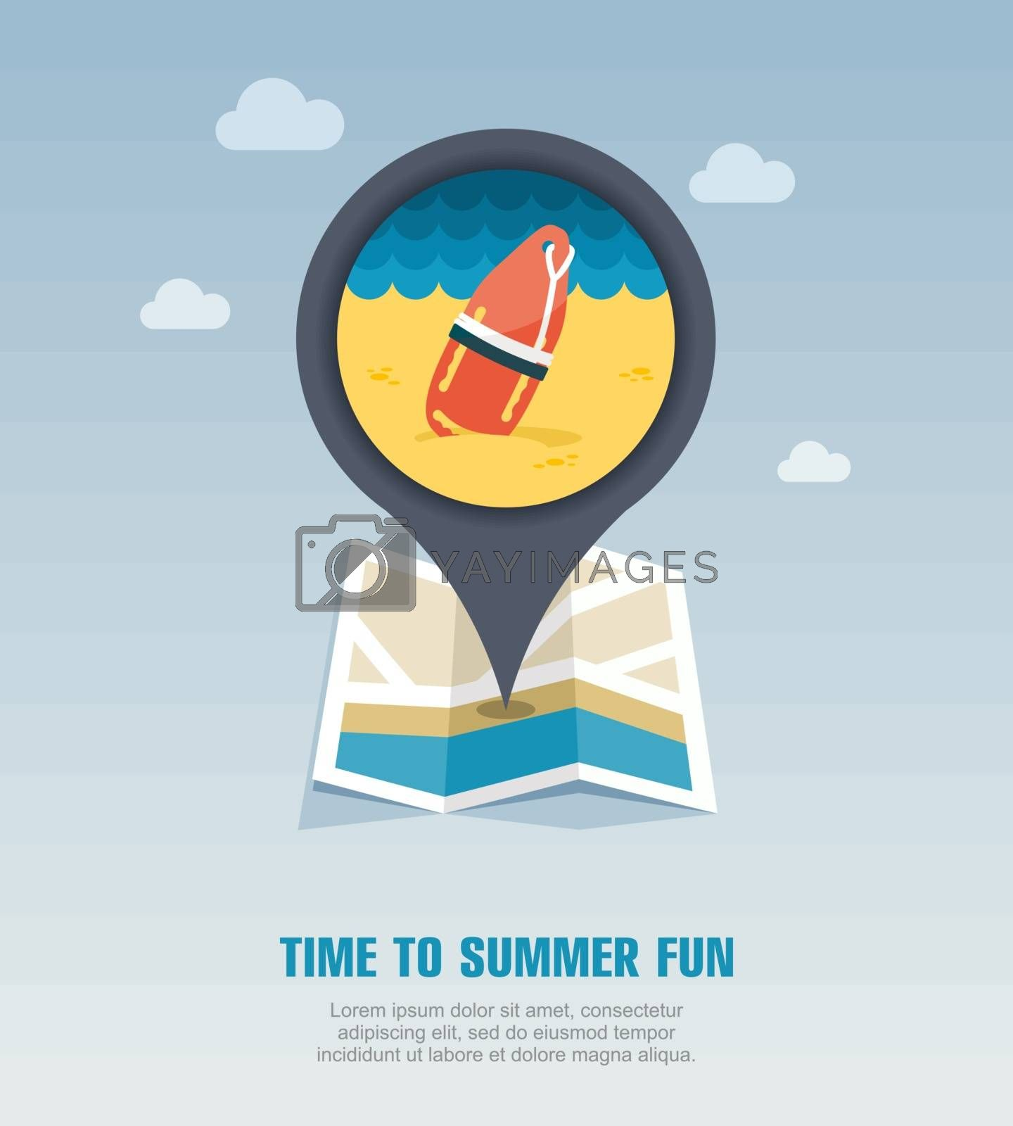 Torpedo lifeguard buoy pin map icon. Summer by nosik