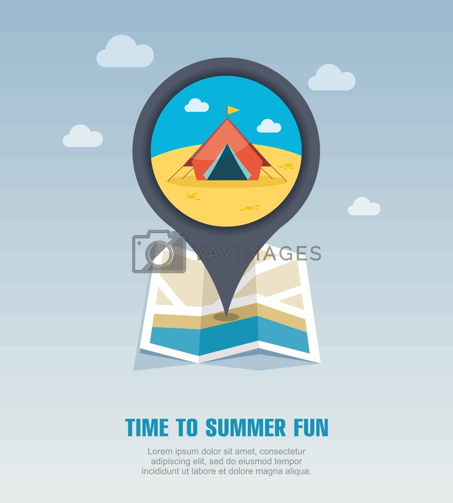 Tent pin map icon. Summer. Vacation by nosik