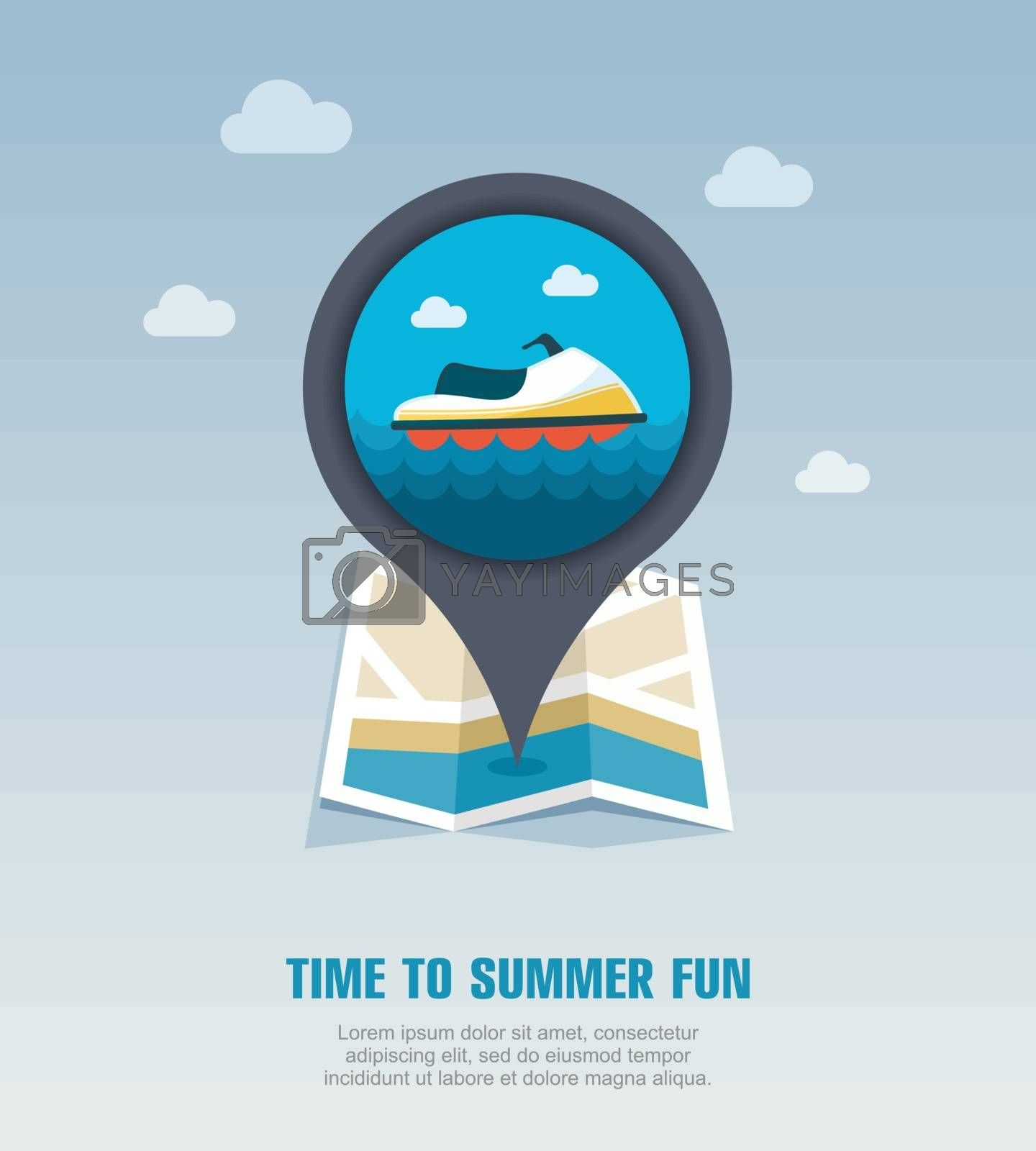 Jet Ski pin map icon. Summer. Vacation by nosik