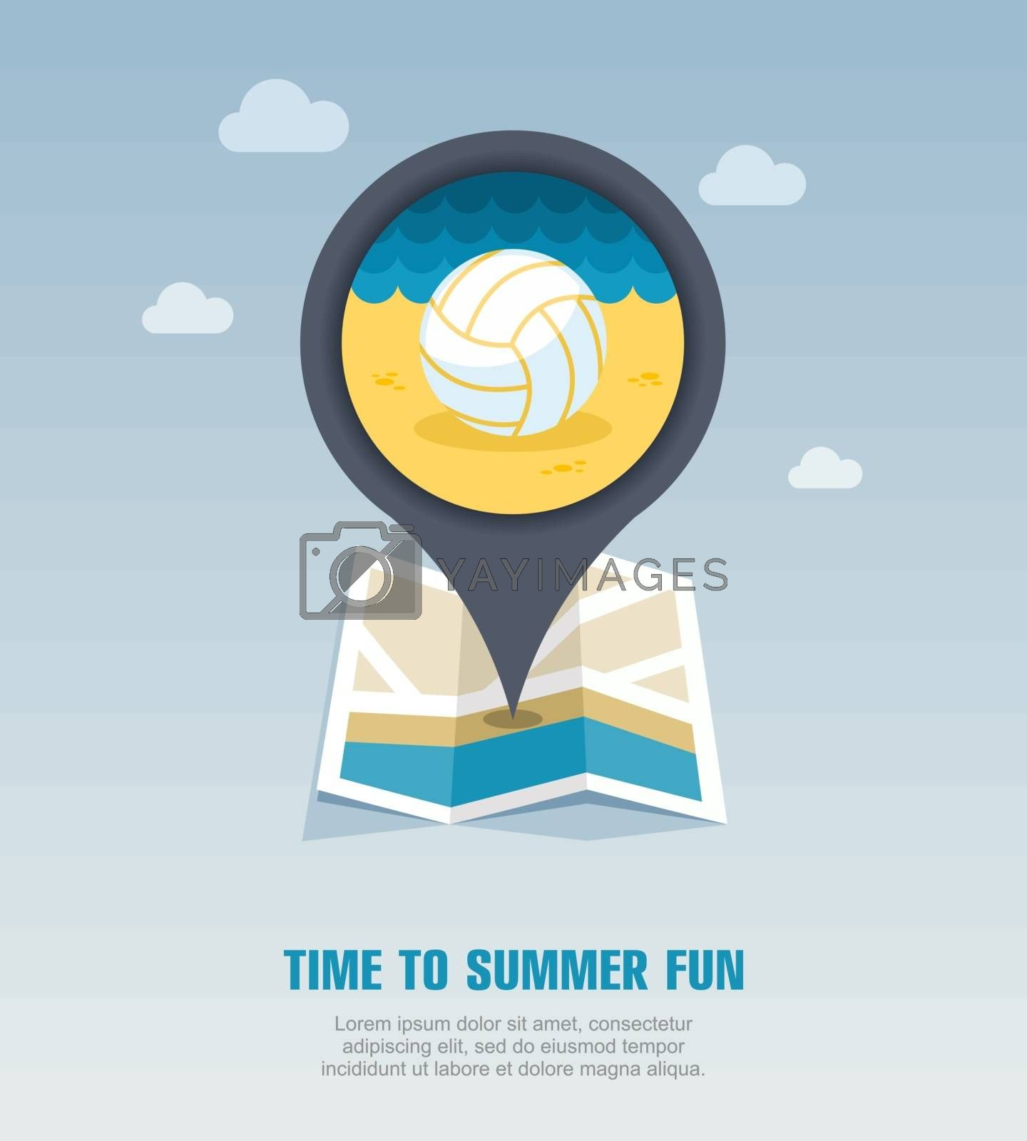 Volleyball pin map icon. Summer. Vacation by nosik