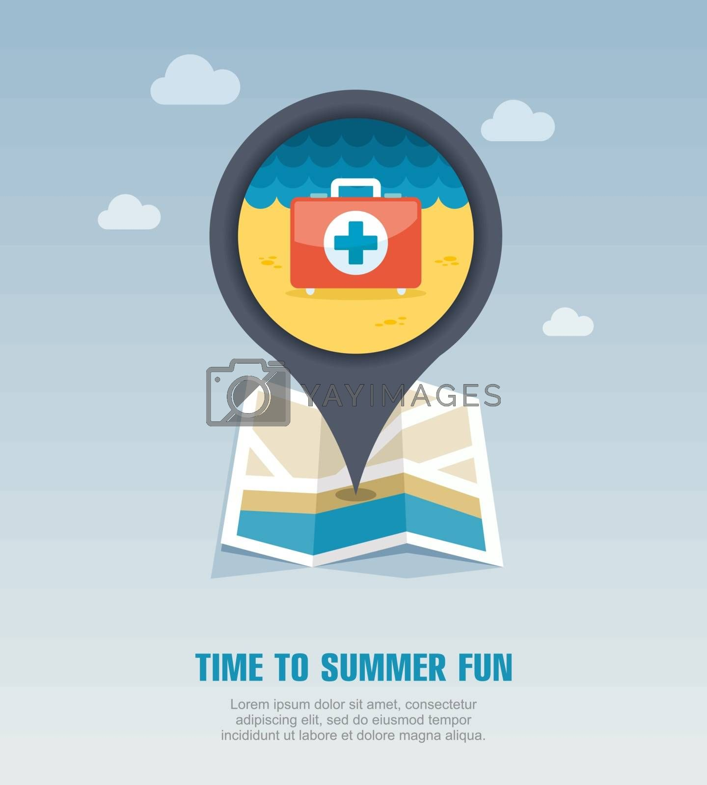 First aid pin map icon. Summer. Vacation by nosik
