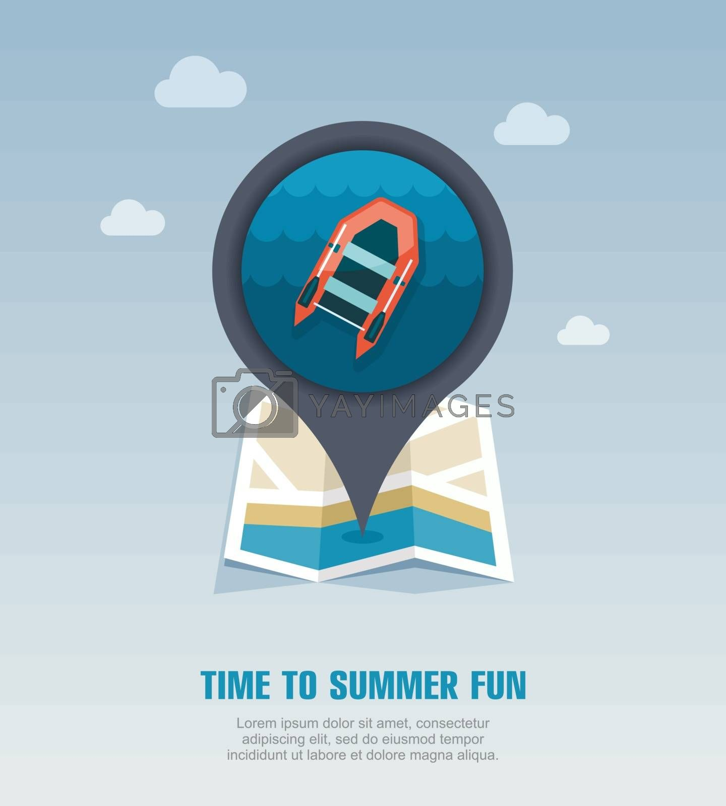 Inflatable boat pin map icon. Summer. Vacation by nosik