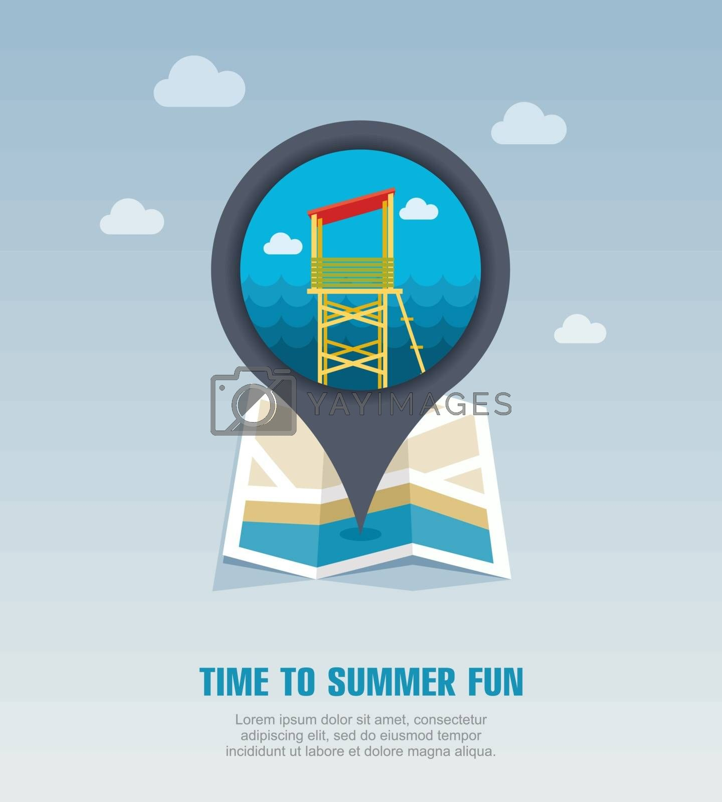 Lifeguard tower pin map icon. Summer. Vacation by nosik