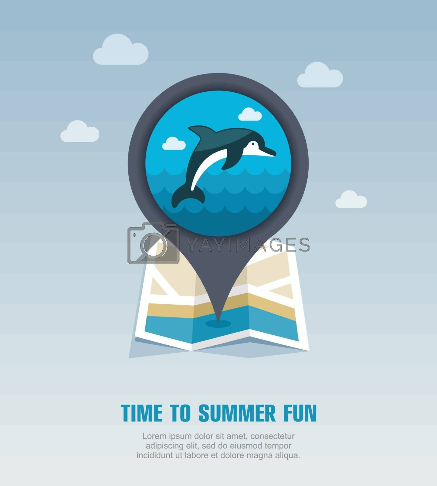 Dolphin pin map icon. Summer. Vacation by nosik