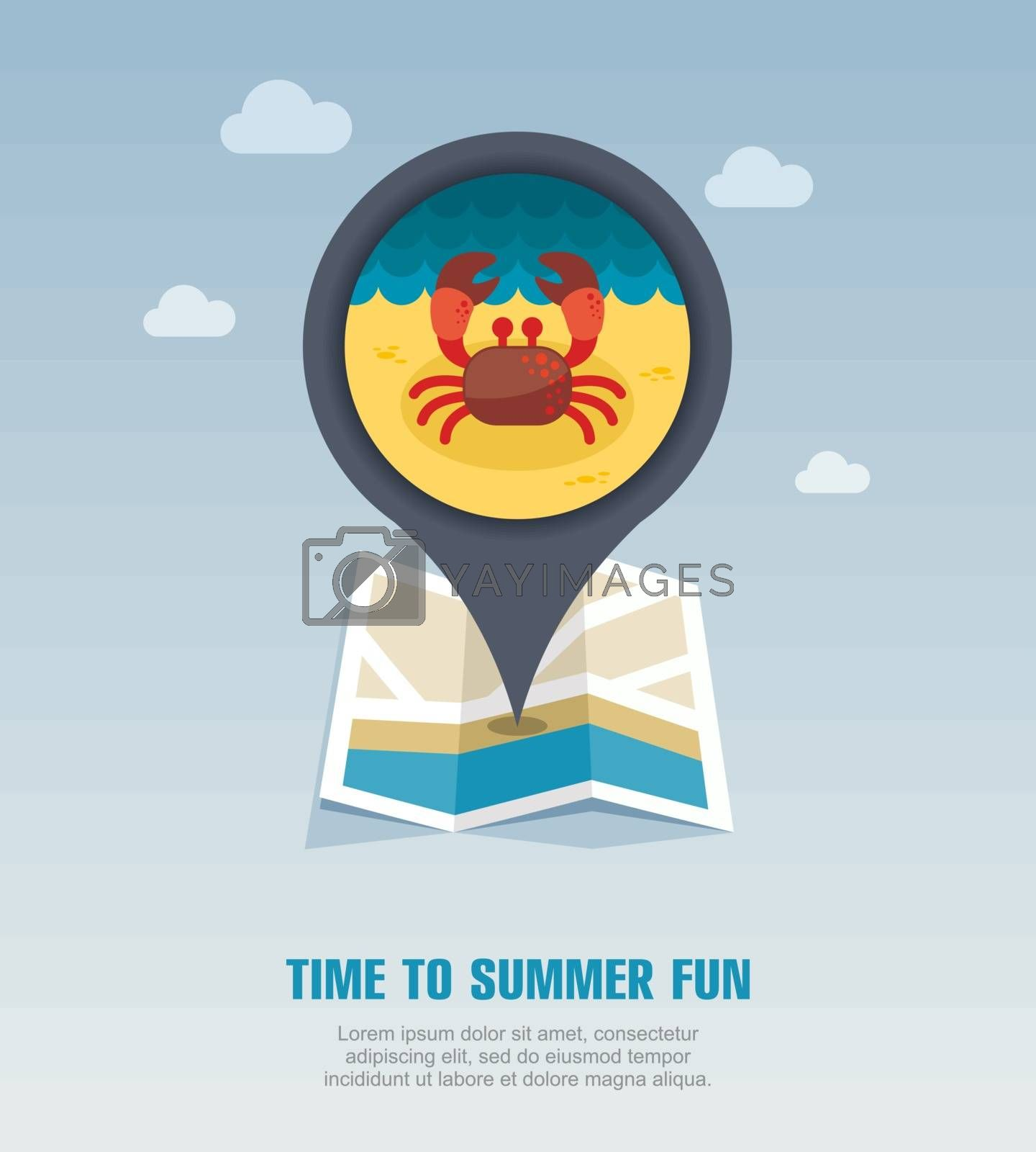 Crab pin map icon. Summer. Vacation by nosik