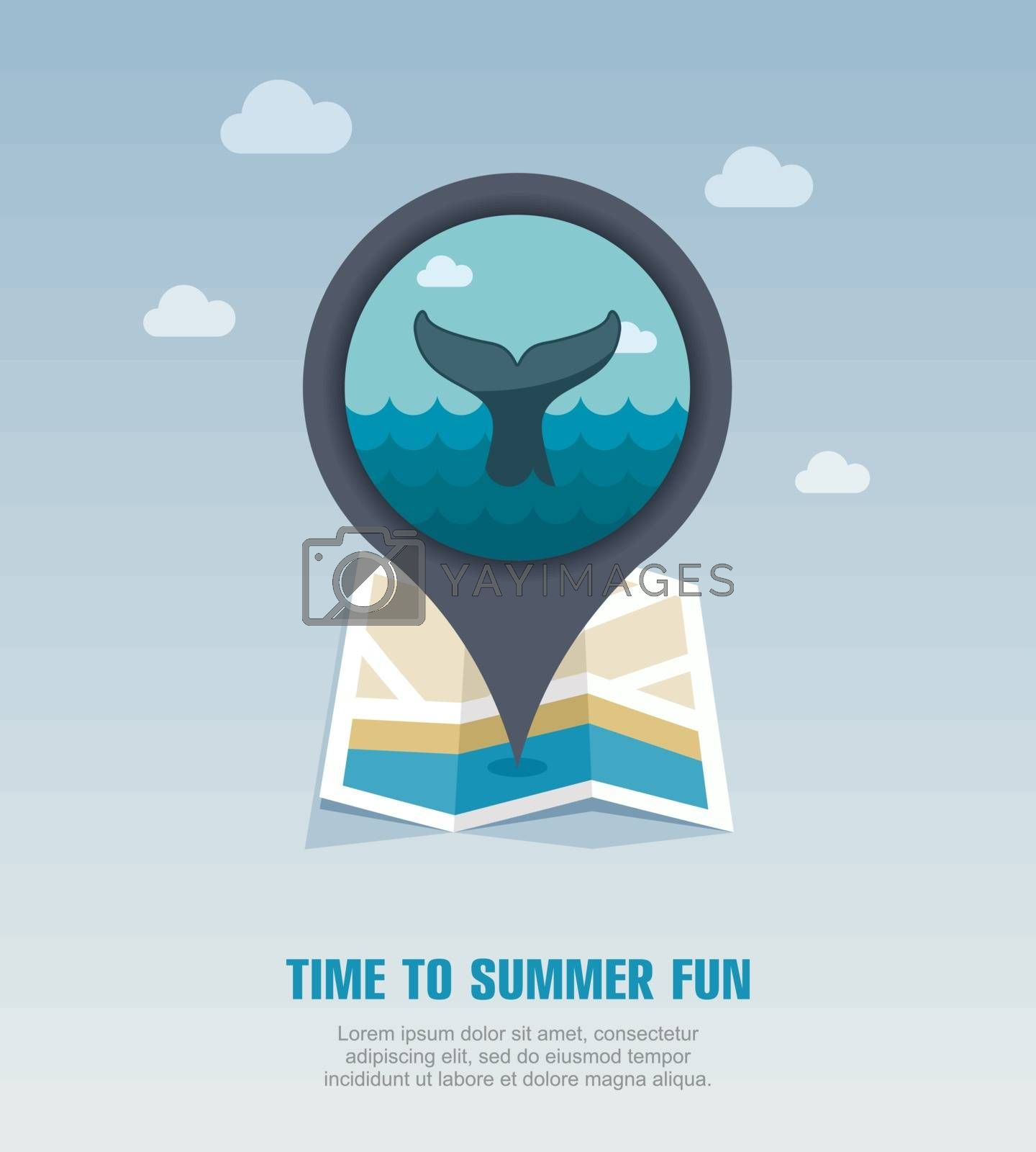 Whale tail pin map icon. Summer. Vacation by nosik